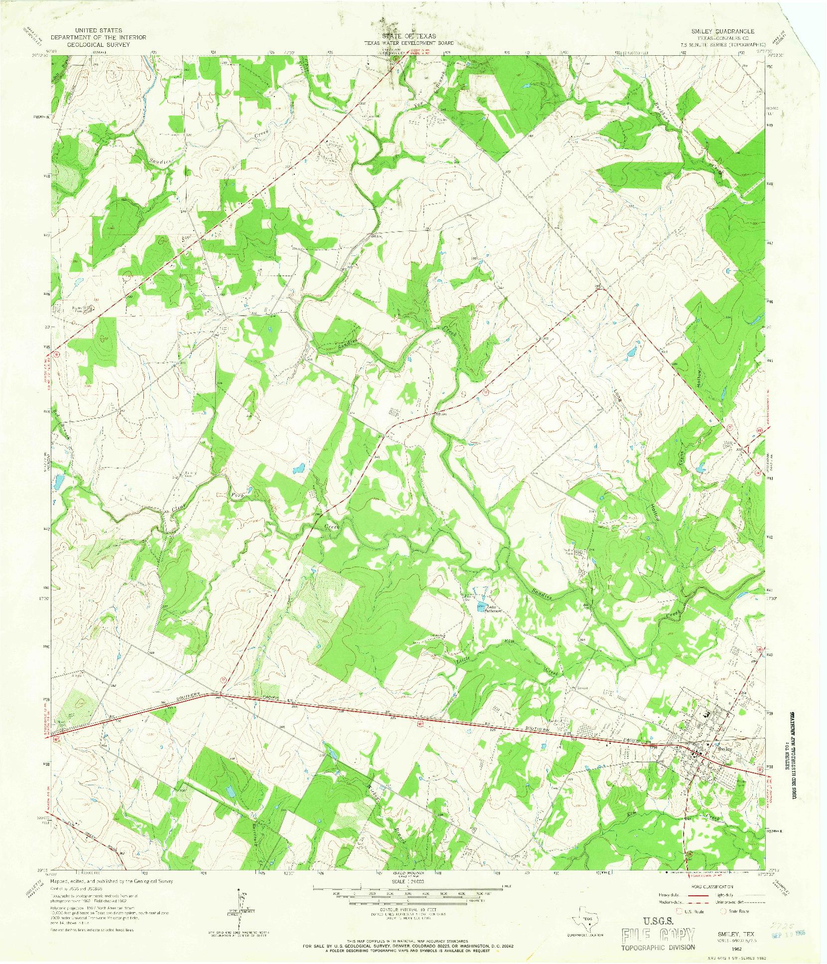 USGS 1:24000-SCALE QUADRANGLE FOR SMILEY, TX 1962