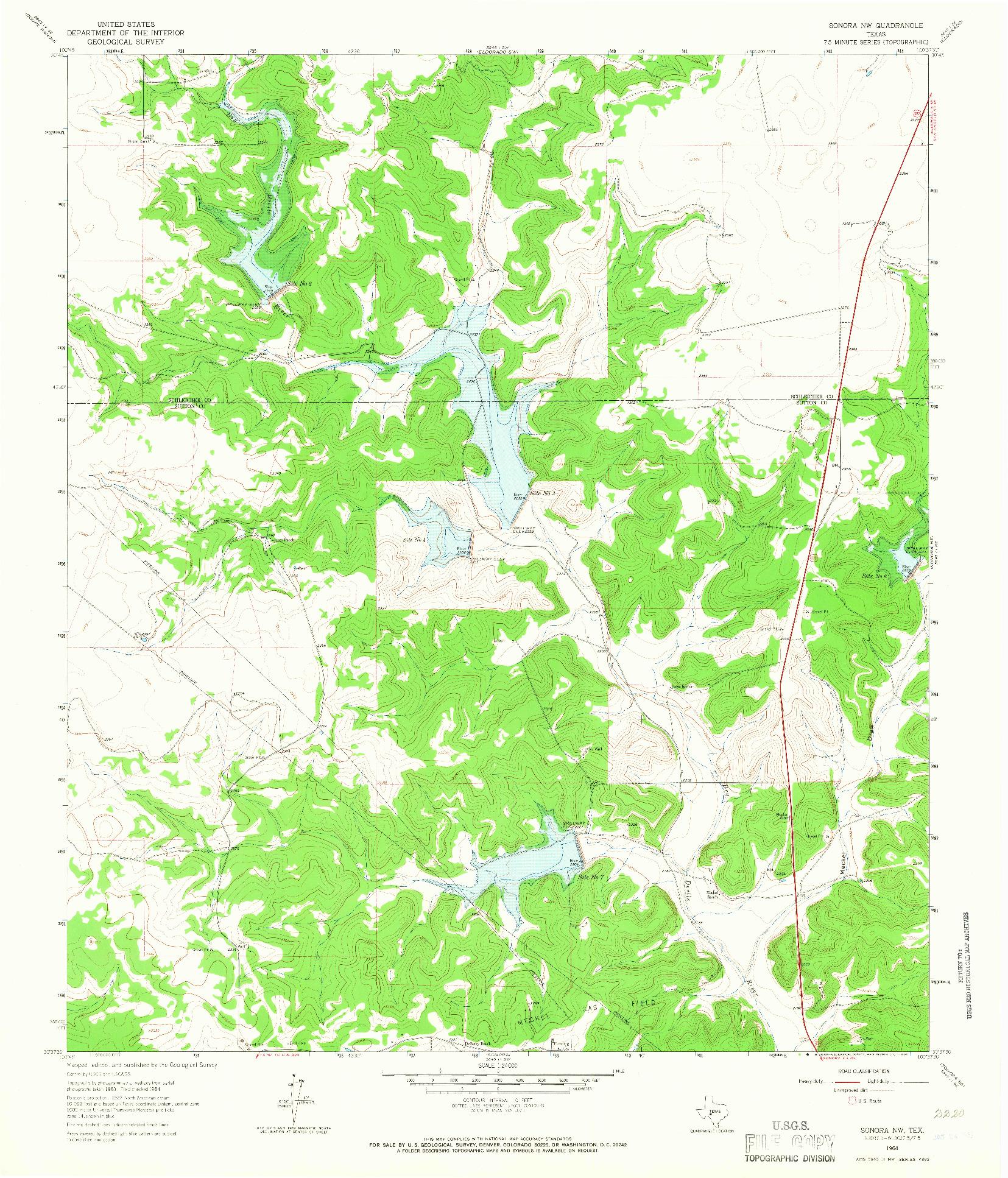 USGS 1:24000-SCALE QUADRANGLE FOR SONORA NW, TX 1964