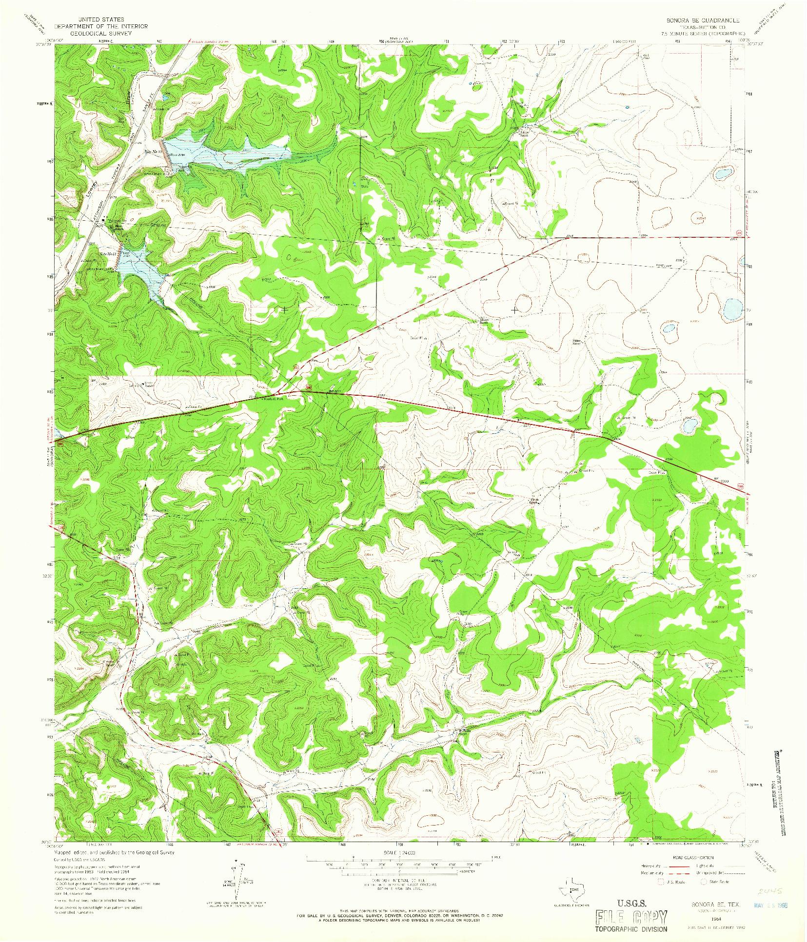 USGS 1:24000-SCALE QUADRANGLE FOR SONORA SE, TX 1964
