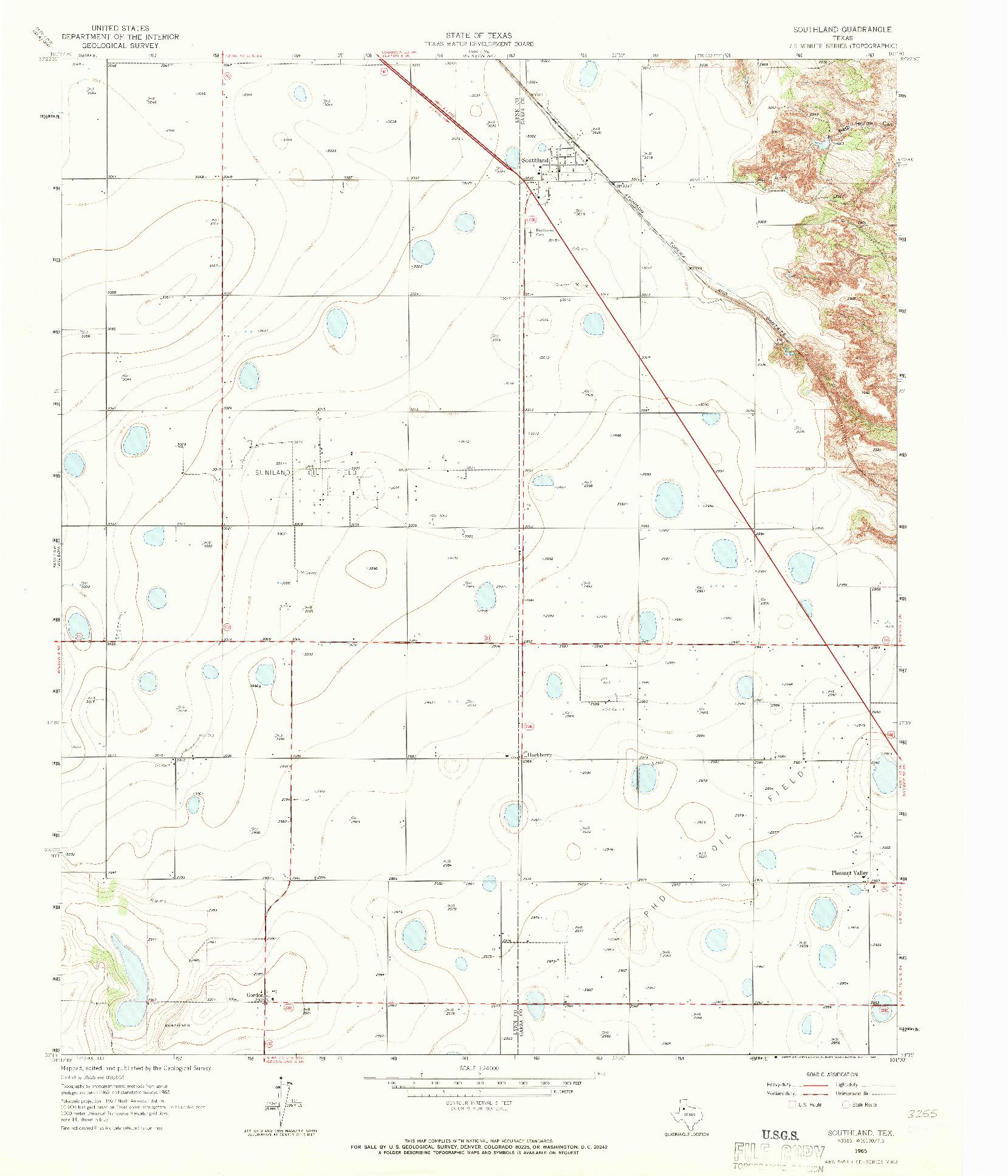 USGS 1:24000-SCALE QUADRANGLE FOR SOUTHLAND, TX 1965