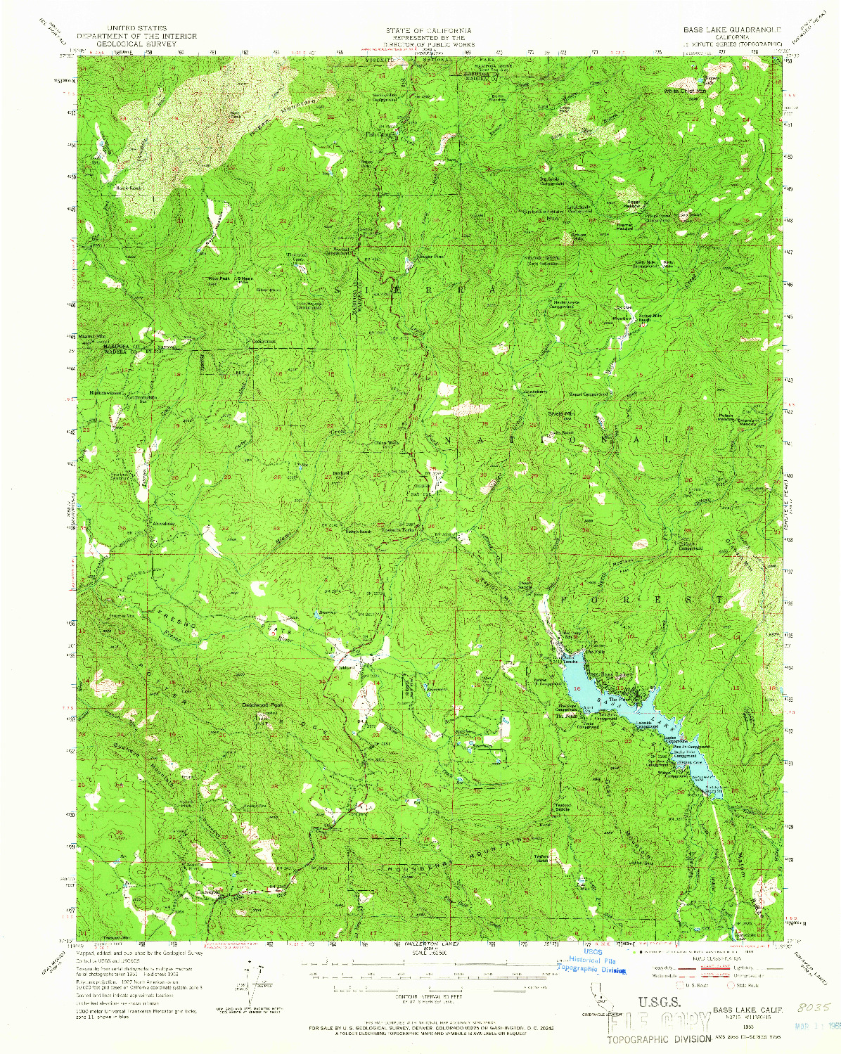 USGS 1:62500-SCALE QUADRANGLE FOR BASS LAKE, CA 1953