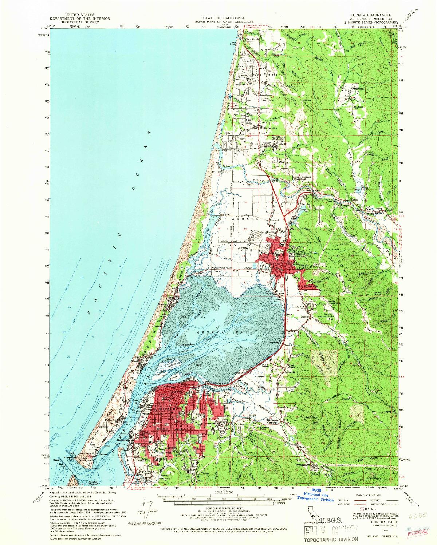 USGS 1:62500-SCALE QUADRANGLE FOR EUREKA, CA 1959