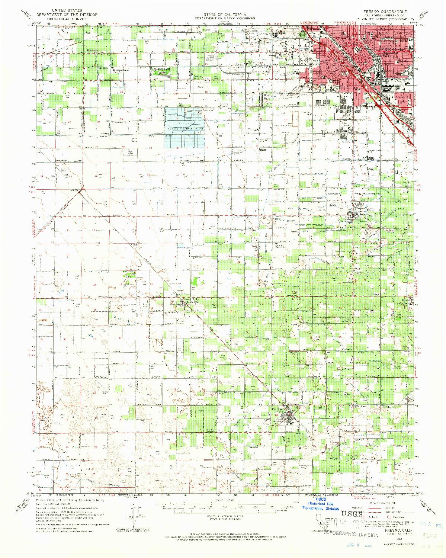 USGS 1:62500-SCALE QUADRANGLE FOR FRESNO, CA 1963
