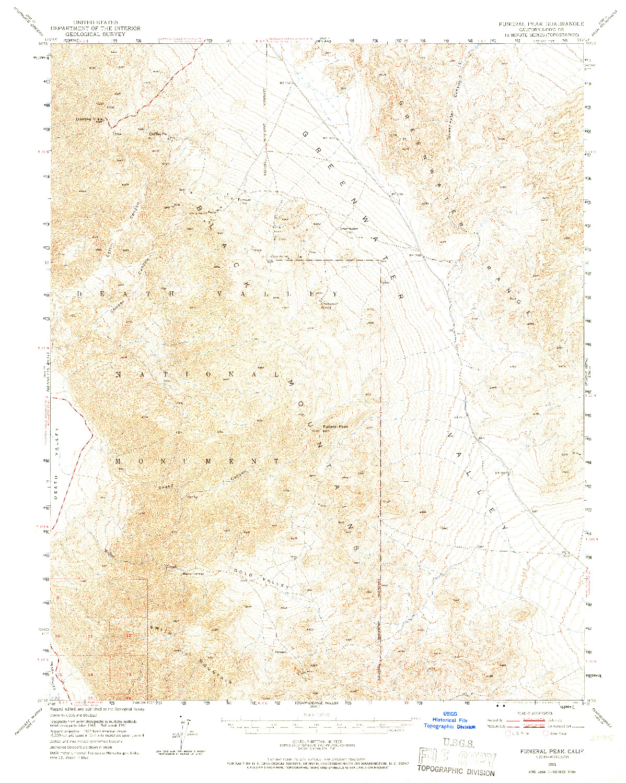 USGS 1:62500-SCALE QUADRANGLE FOR FUNERAL PEAK, CA 1951