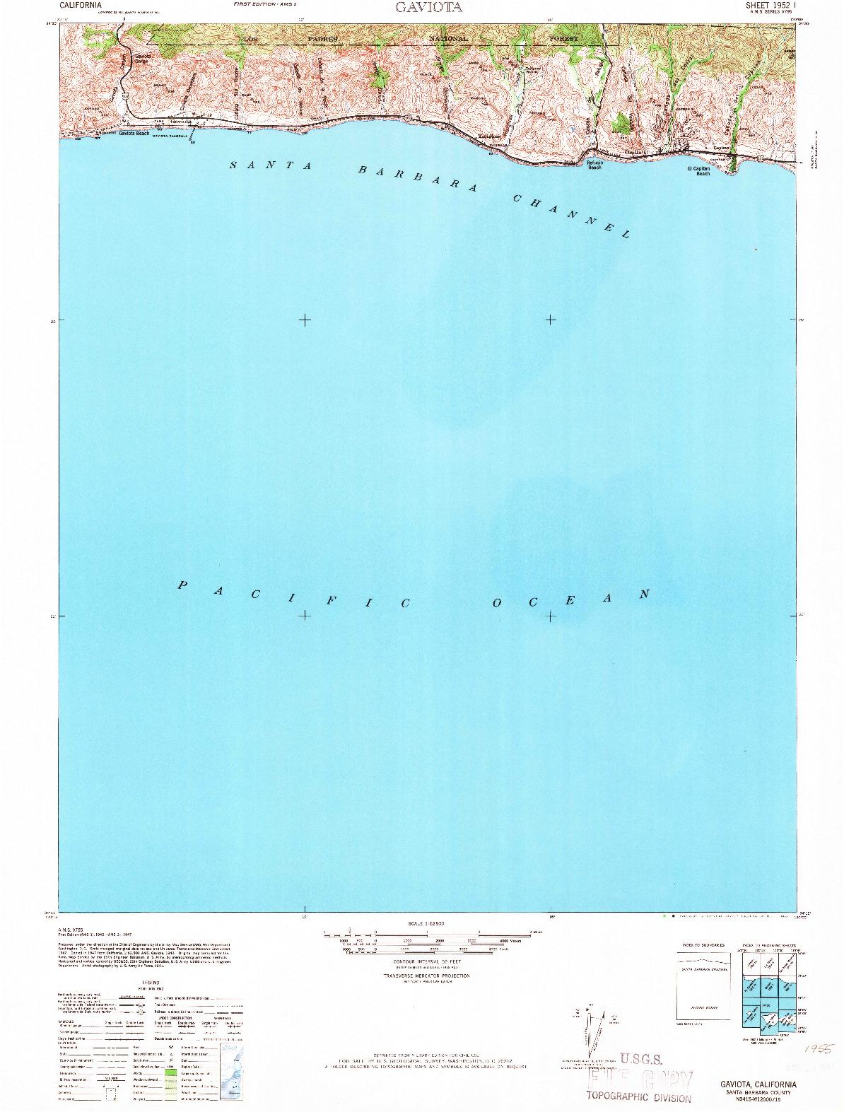 USGS 1:62500-SCALE QUADRANGLE FOR GAVIOTA, CA 1966