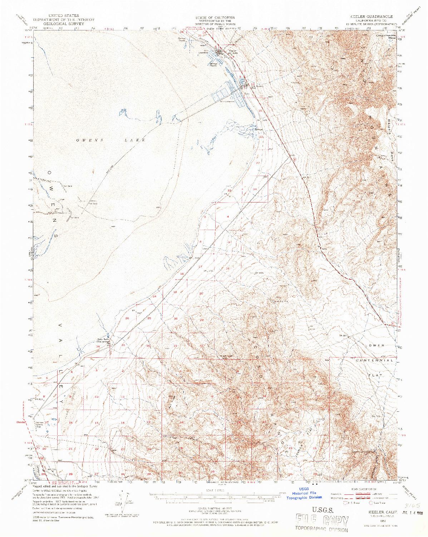 USGS 1:62500-SCALE QUADRANGLE FOR KEELER, CA 1951