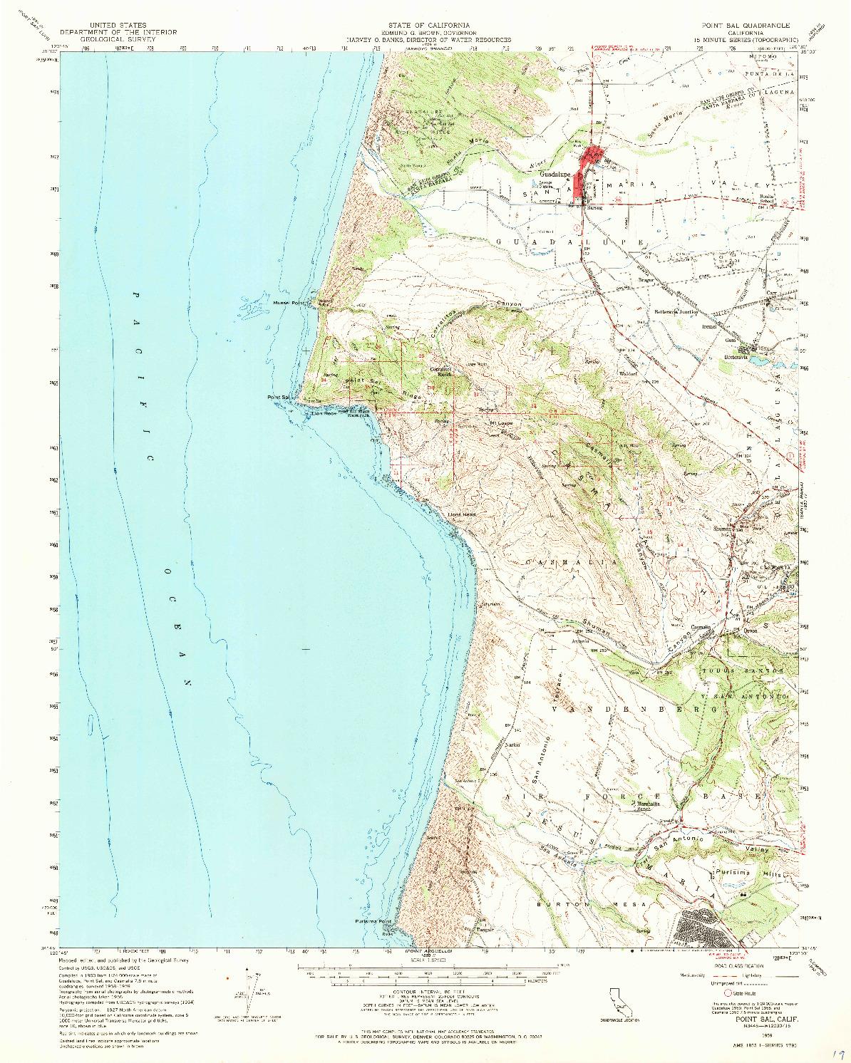 USGS 1:62500-SCALE QUADRANGLE FOR POINT SAL, CA 1959