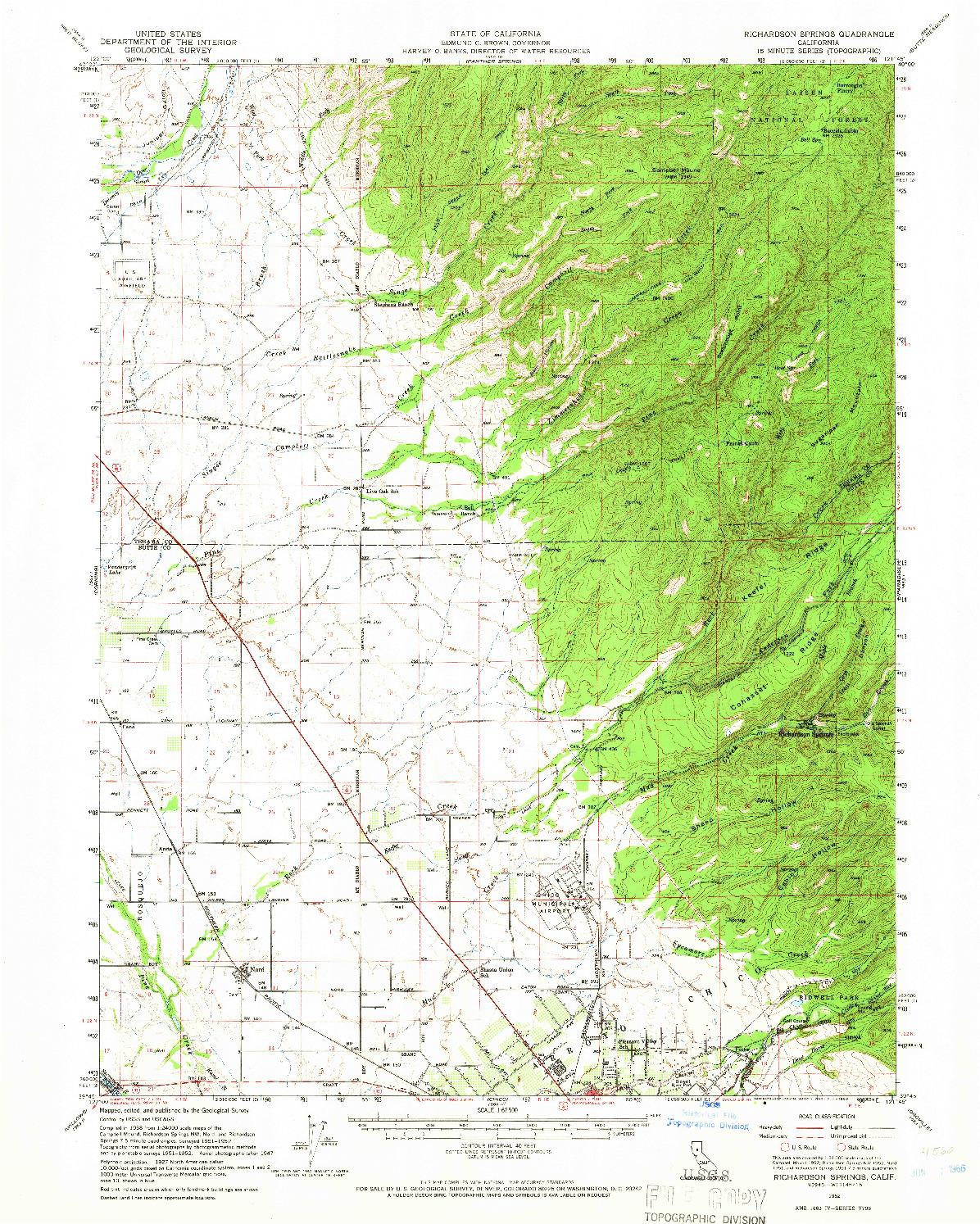 USGS 1:62500-SCALE QUADRANGLE FOR RICHARDSON SPRINGS, CA 1952