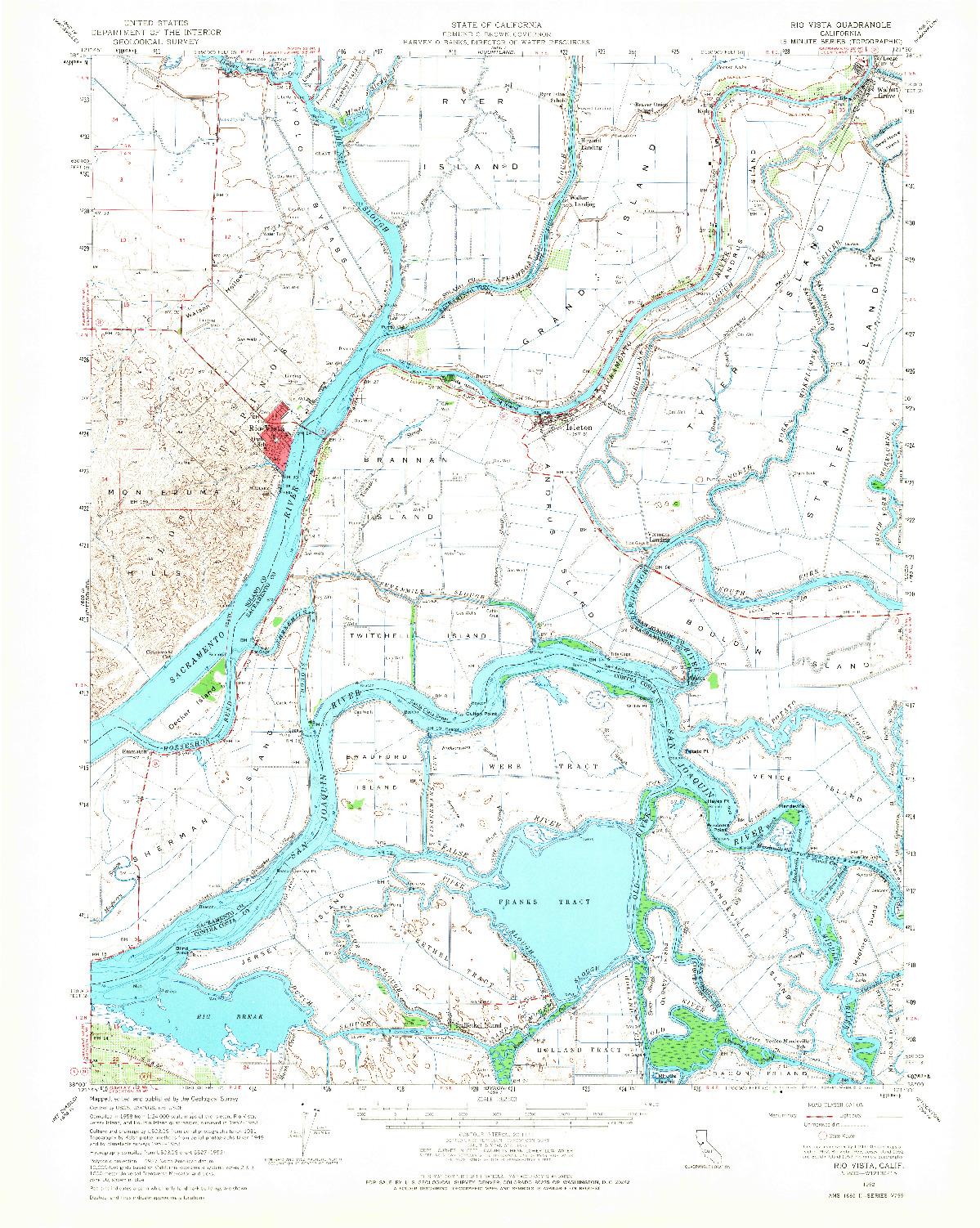 USGS 1:62500-SCALE QUADRANGLE FOR RIO VISTA, CA 1952