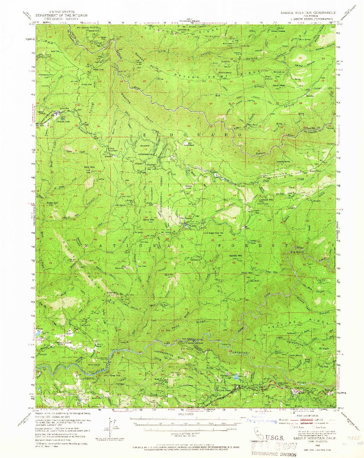 USGS 1:62500-SCALE QUADRANGLE FOR SADDLE MOUNTAIN, CA 1950
