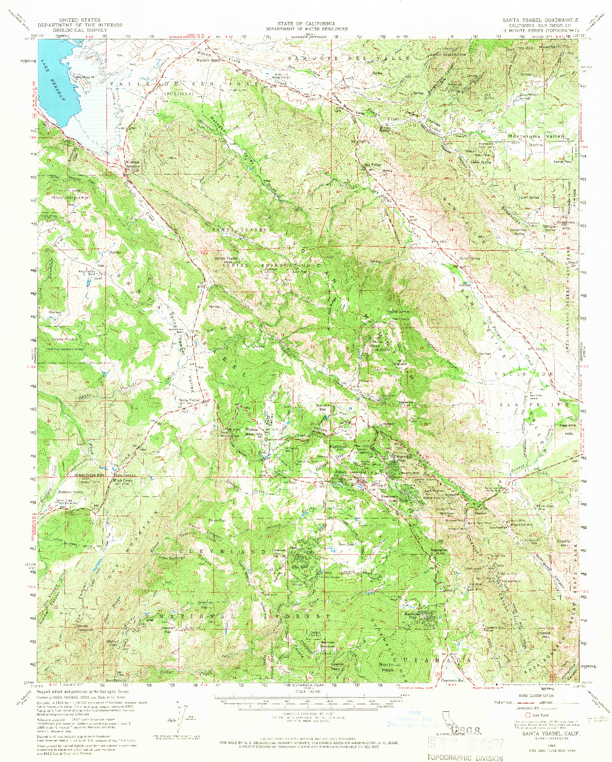 USGS 1:62500-SCALE QUADRANGLE FOR SANTA YSABEL, CA 1960