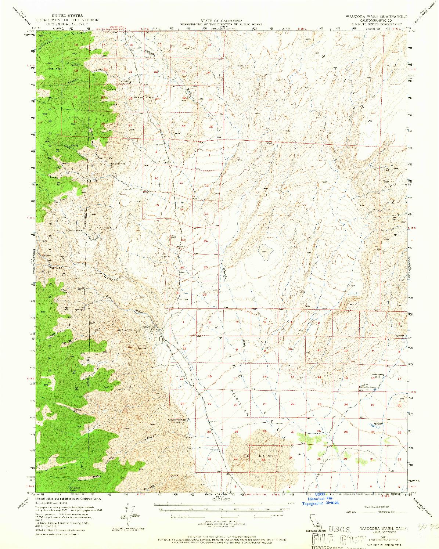 USGS 1:62500-SCALE QUADRANGLE FOR WAUCOBA WASH, CA 1951