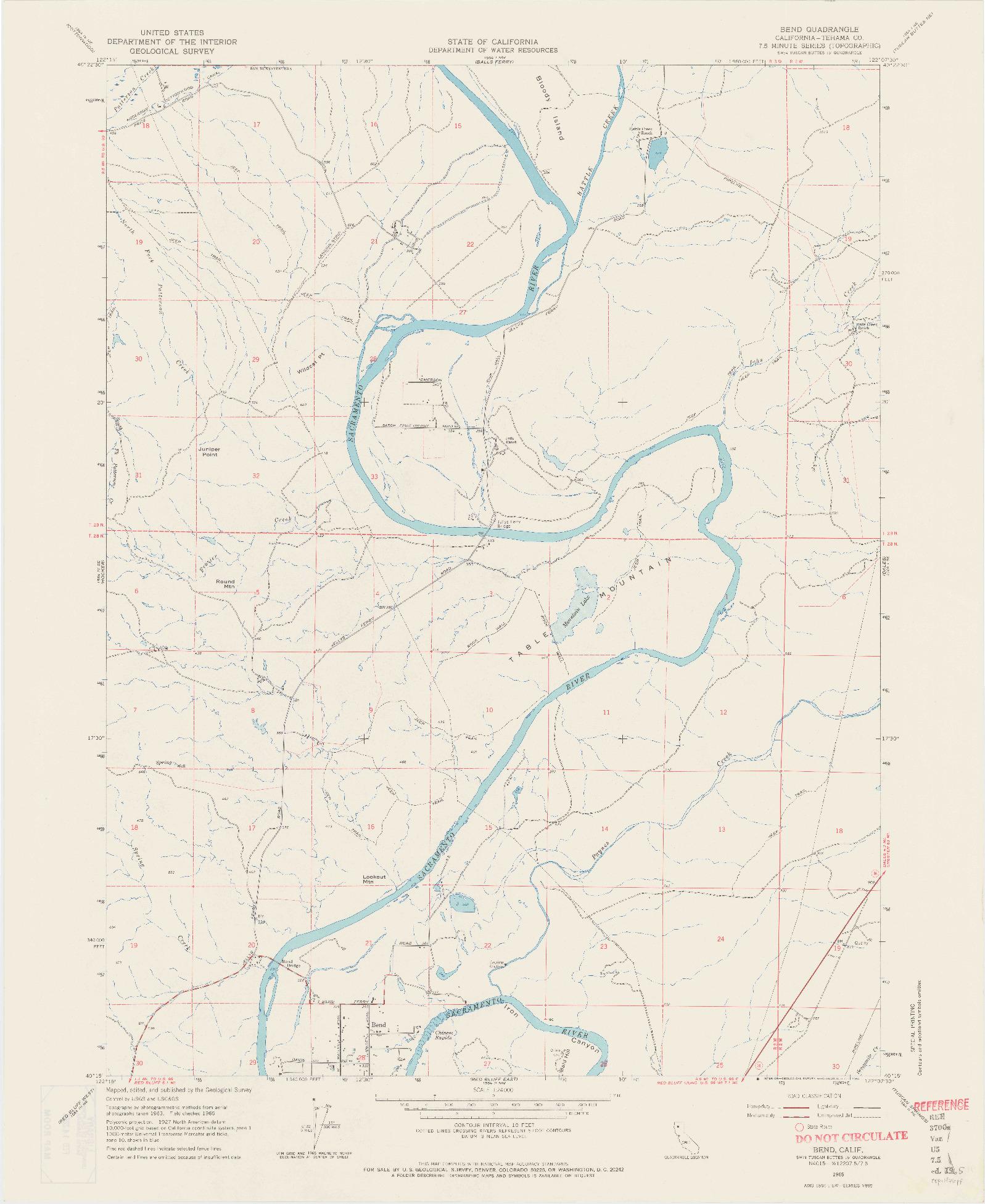 USGS 1:24000-SCALE QUADRANGLE FOR BEND, CA 1965