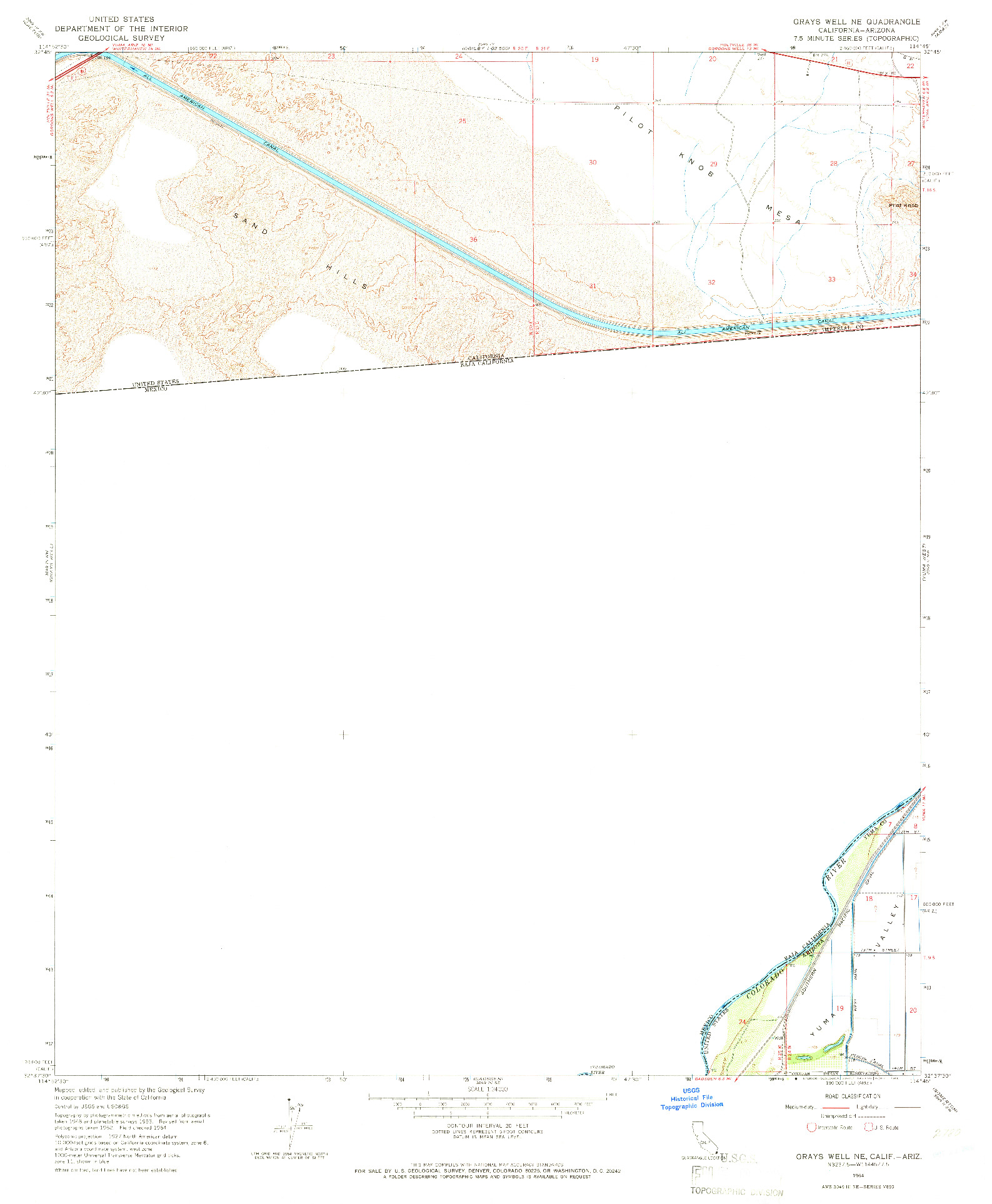 USGS 1:24000-SCALE QUADRANGLE FOR GRAYS WELL NE, CA 1964