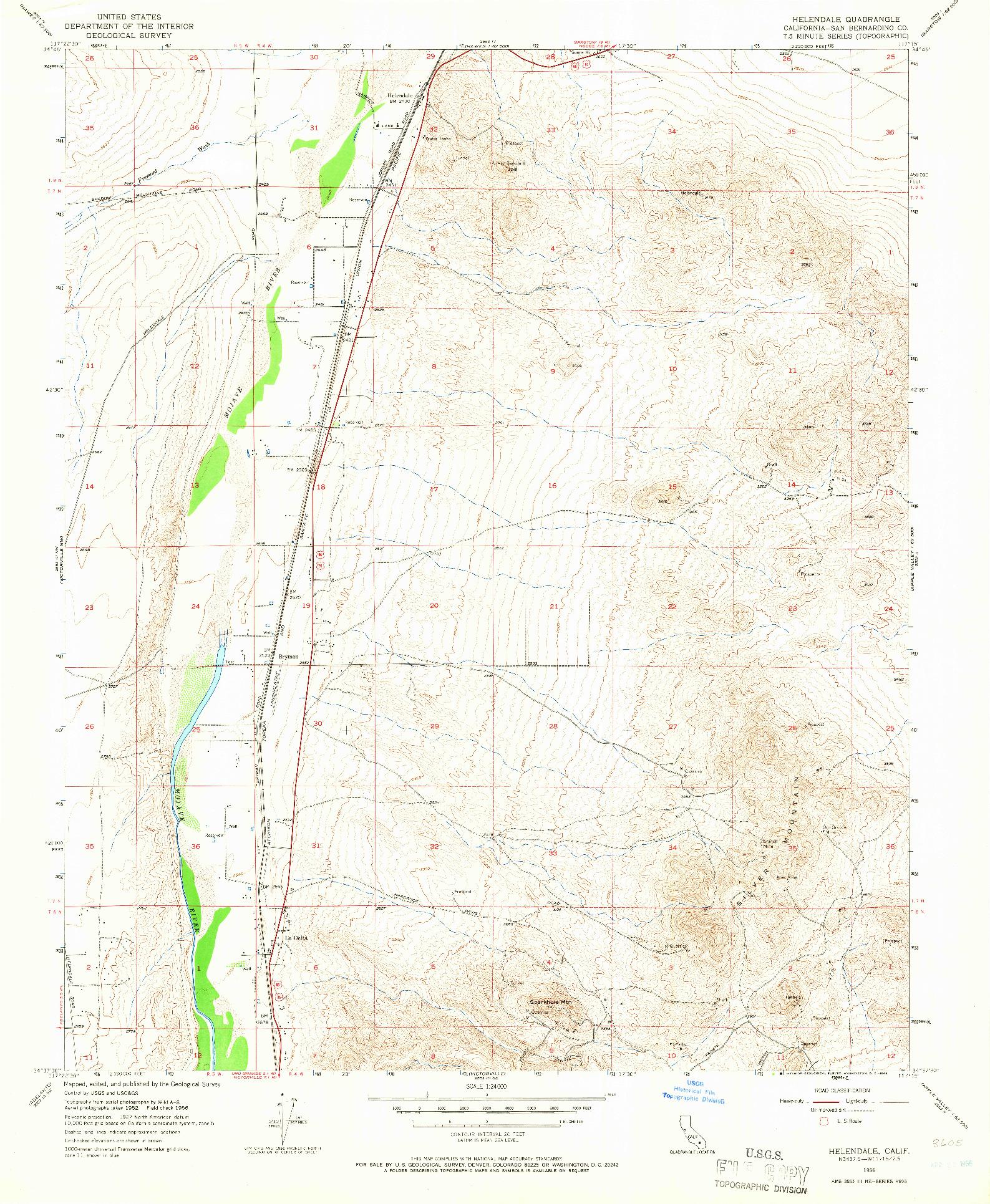 USGS 1:24000-SCALE QUADRANGLE FOR HELENDALE, CA 1956