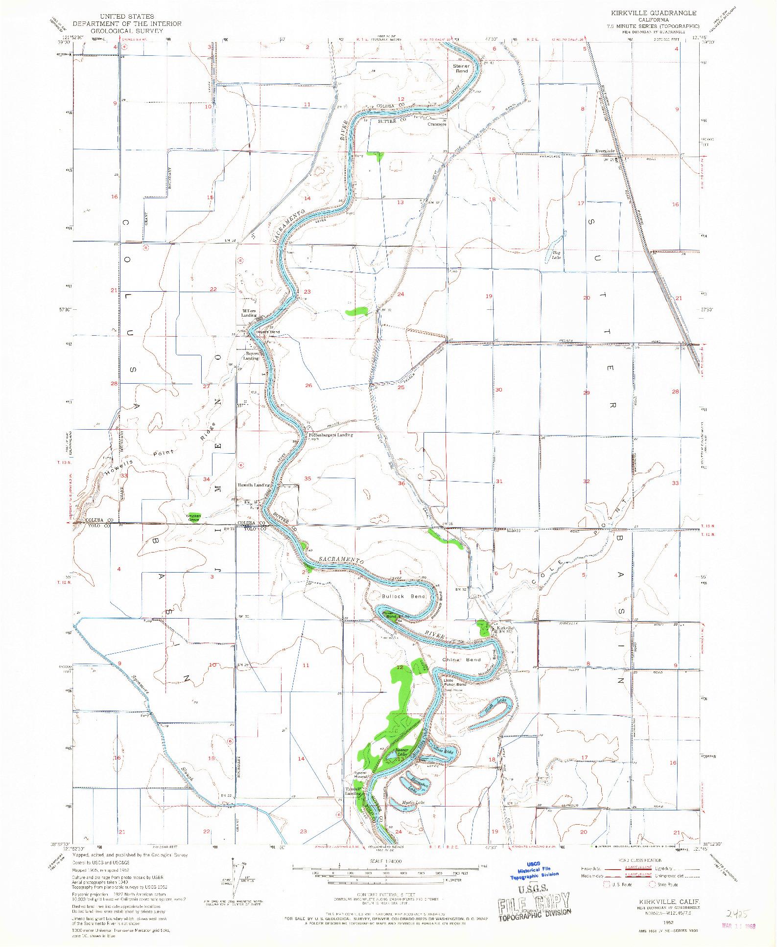 USGS 1:24000-SCALE QUADRANGLE FOR KIRKVILLE, CA 1952