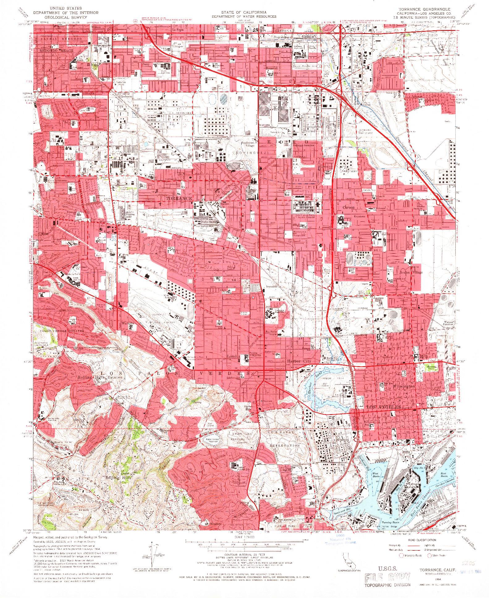 USGS 1:24000-SCALE QUADRANGLE FOR TORRANCE, CA 1964