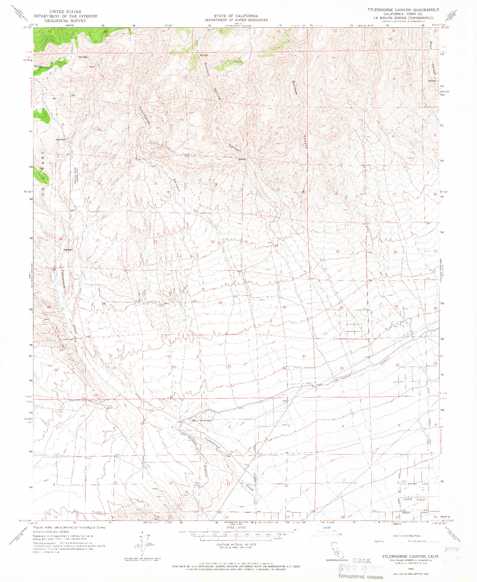 USGS 1:24000-SCALE QUADRANGLE FOR TYLERHORSE CANYON, CA 1965