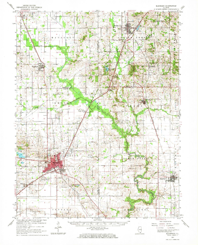 USGS 1:62500-SCALE QUADRANGLE FOR ELDORADO, IL 1963