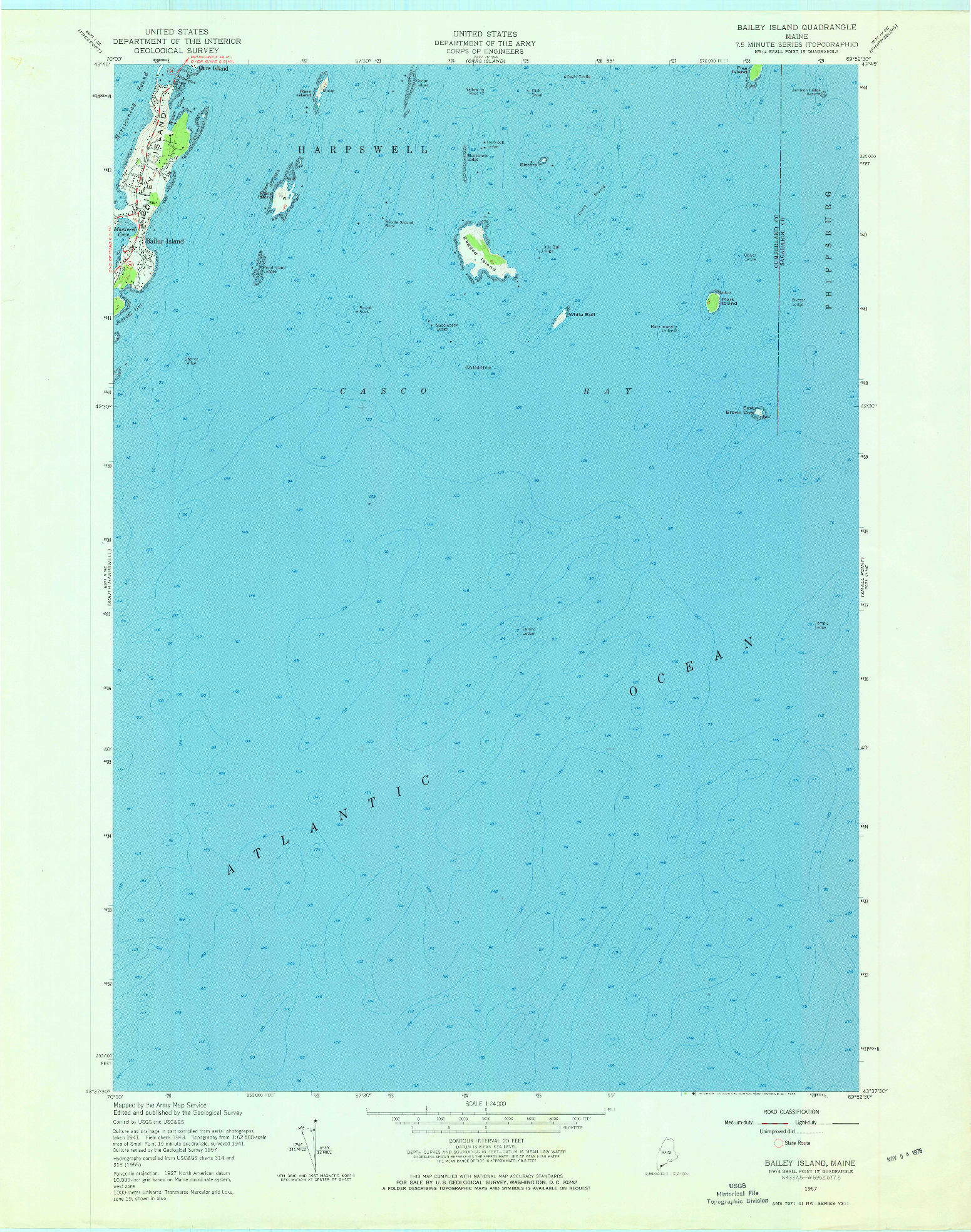 USGS 1:24000-SCALE QUADRANGLE FOR BAILEY ISLAND, ME 1957