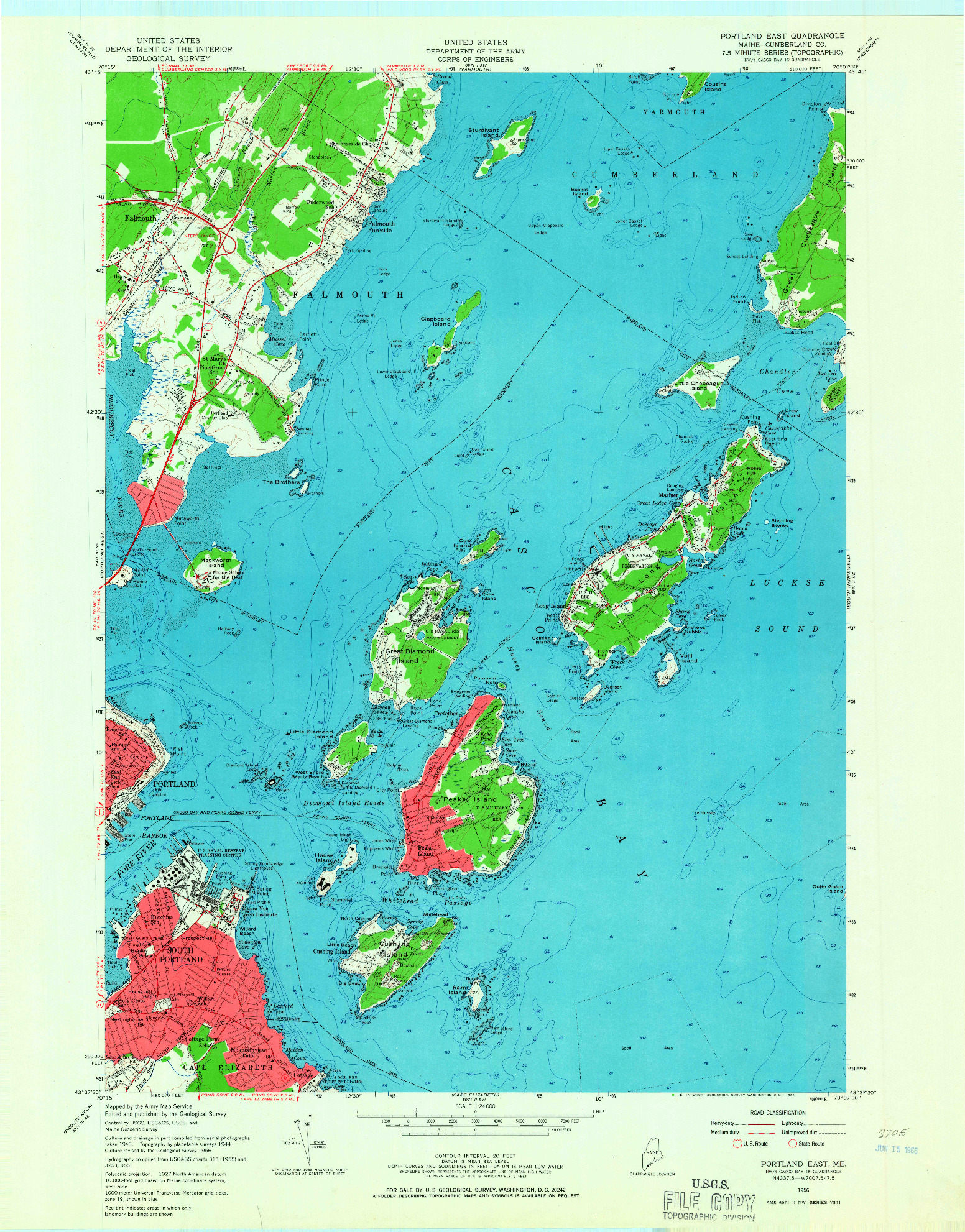 USGS 1:24000-SCALE QUADRANGLE FOR PORTLAND EAST, ME 1956