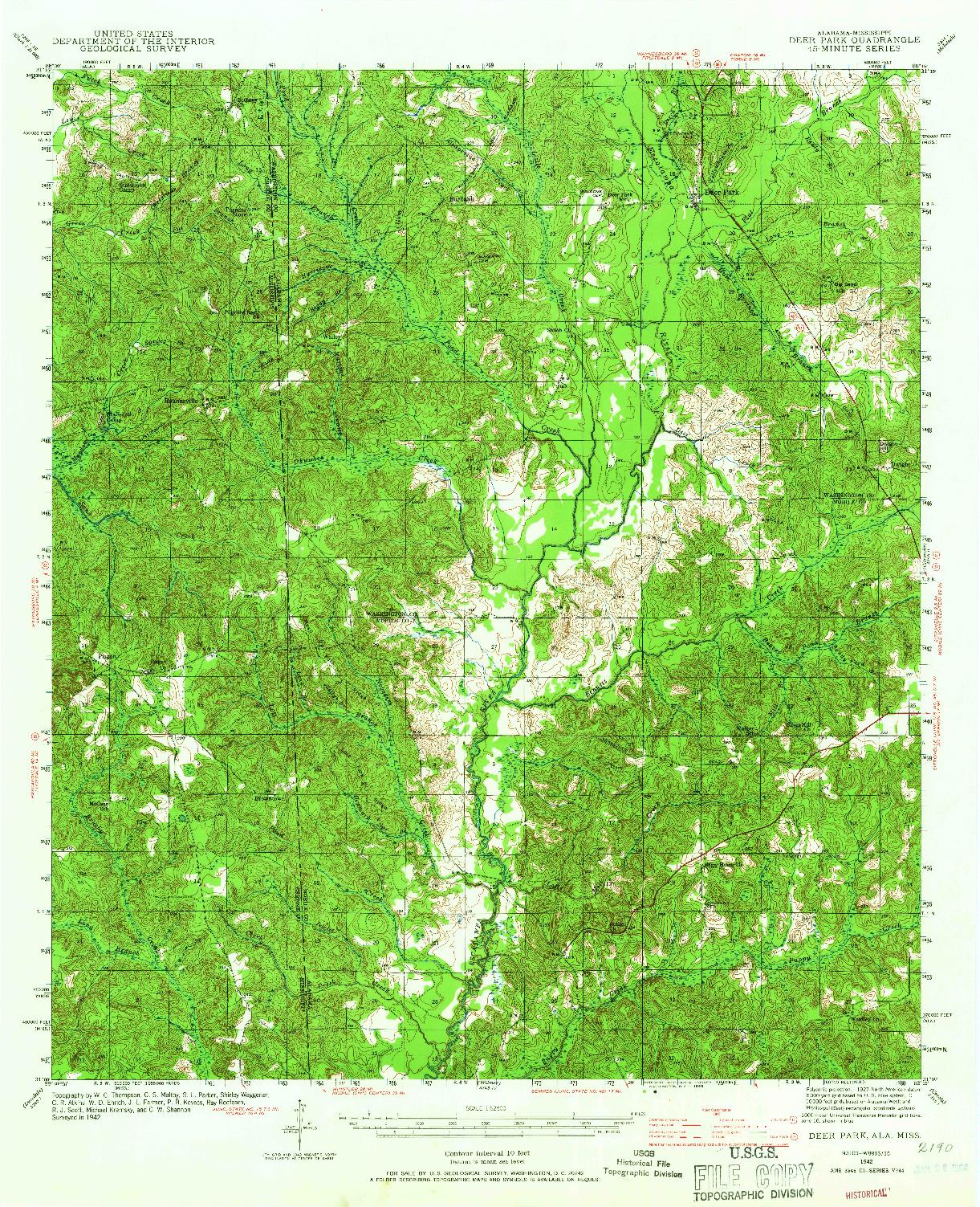 USGS 1:62500-SCALE QUADRANGLE FOR DEER PARK, AL 1942