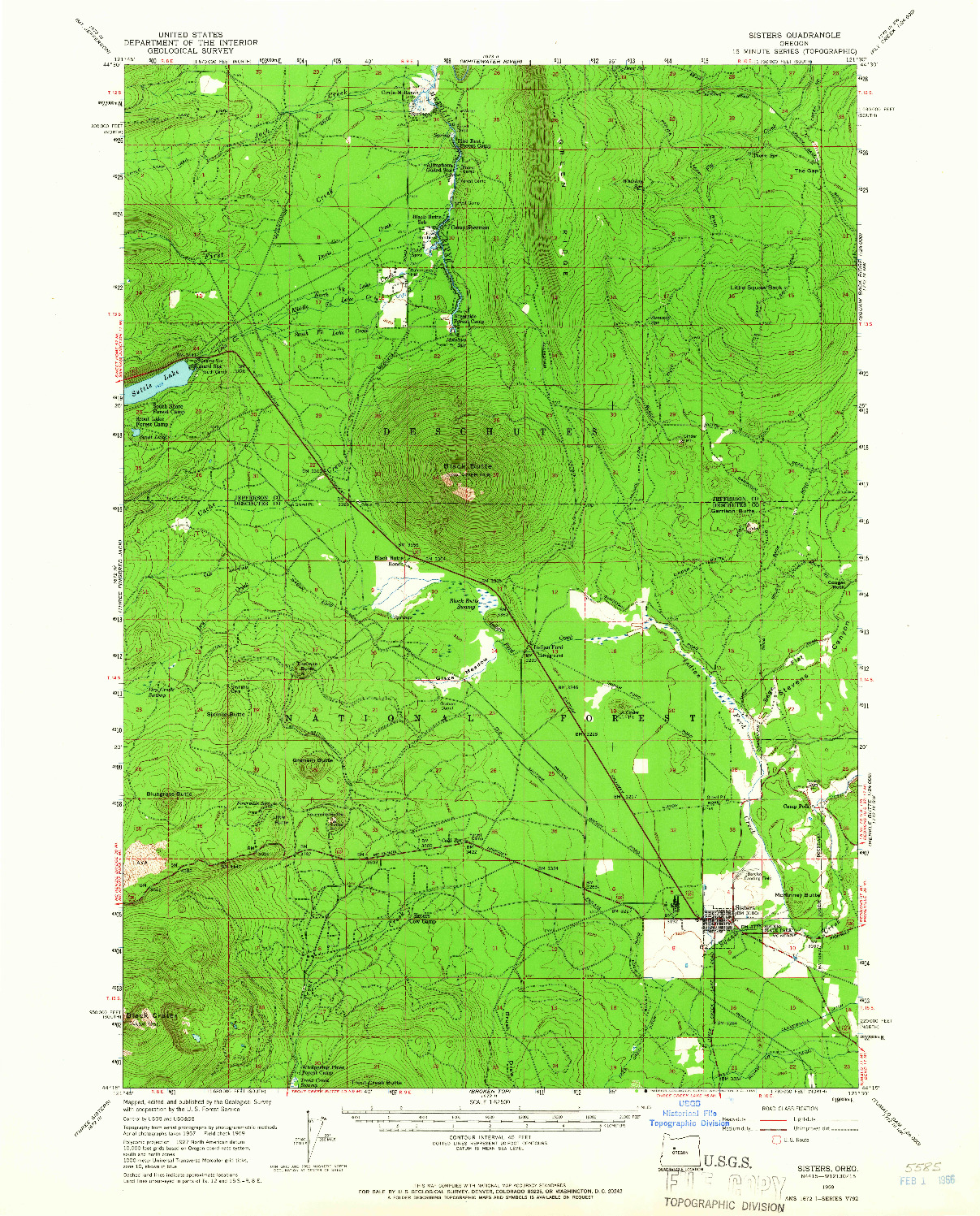 USGS 1:62500-SCALE QUADRANGLE FOR SISTERS, OR 1959