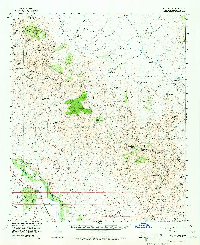 USGS 1:62500-SCALE QUADRANGLE FOR FORT THOMAS, AZ 1960