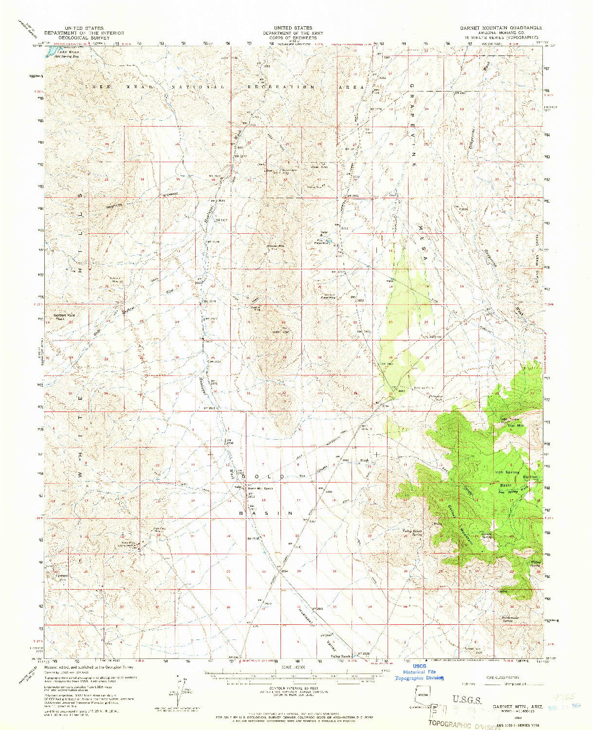 USGS 1:62500-SCALE QUADRANGLE FOR GARNET MTN., AZ 1960
