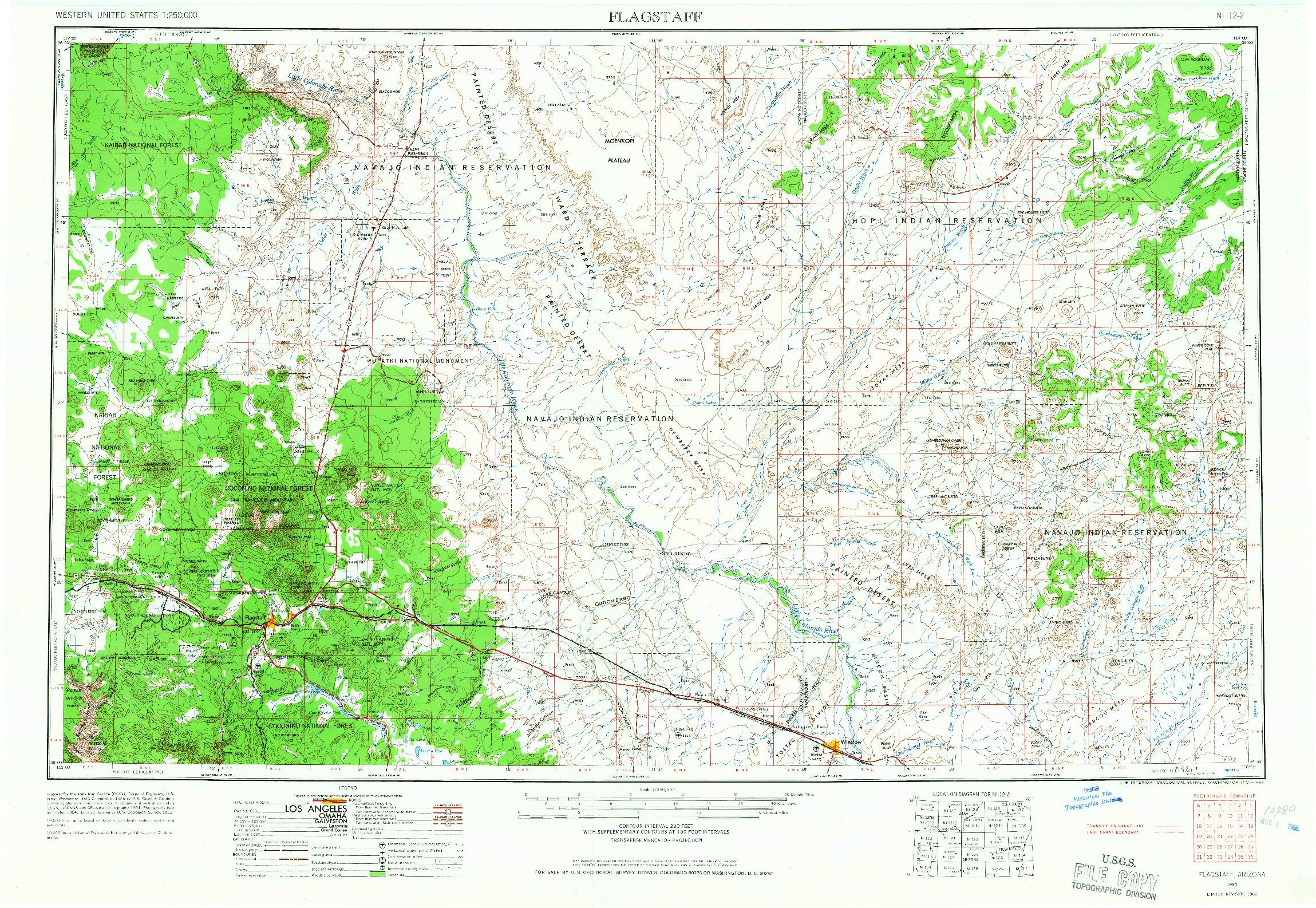 USGS 1:250000-SCALE QUADRANGLE FOR FLAGSTAFF, AZ 1954