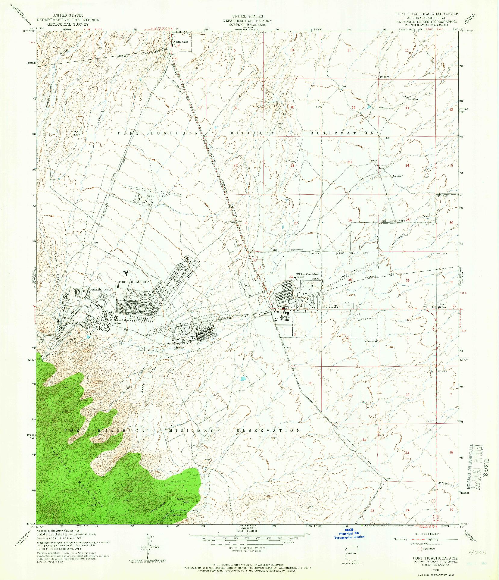 USGS 1:24000-SCALE QUADRANGLE FOR FORT HUACHUCA, AZ 1958