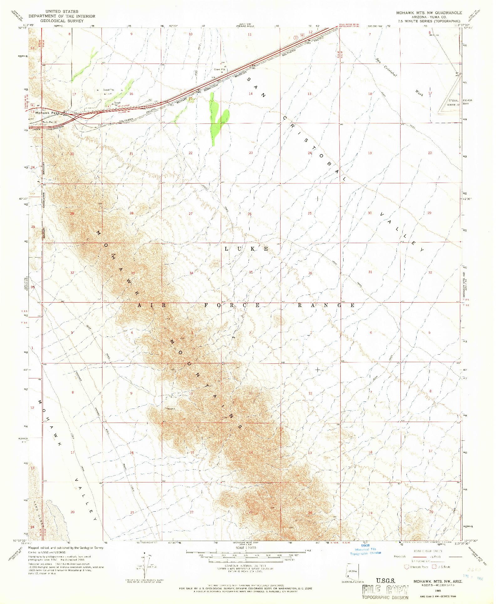 USGS 1:24000-SCALE QUADRANGLE FOR MOHAWK MTS NW, AZ 1965