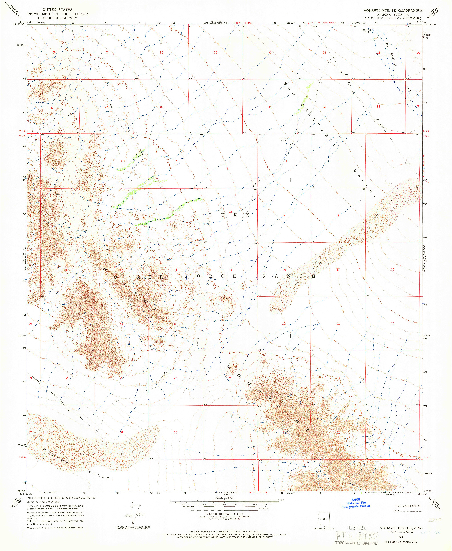 USGS 1:24000-SCALE QUADRANGLE FOR MOHAWK MTS SE, AZ 1965