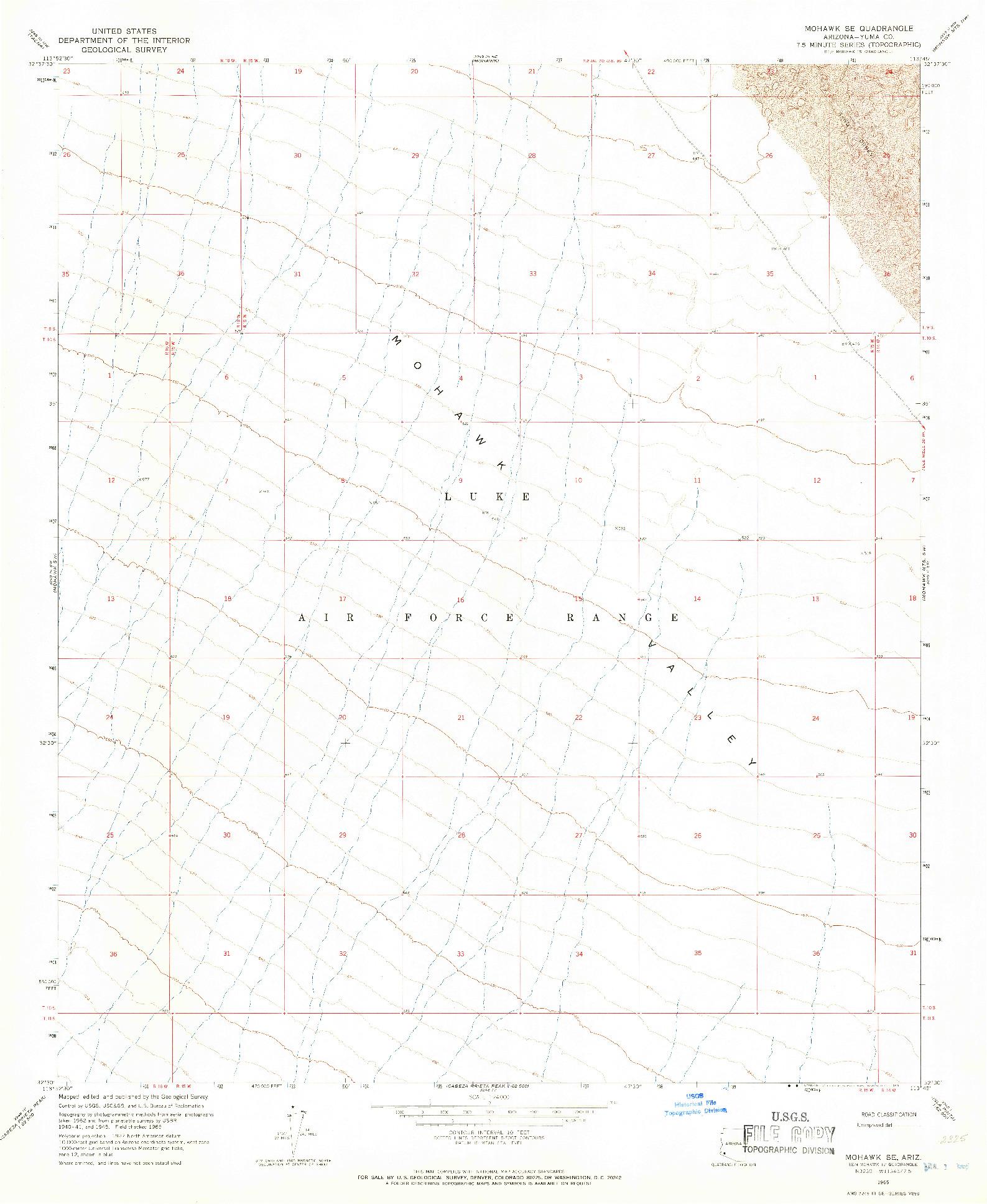 USGS 1:24000-SCALE QUADRANGLE FOR MOHAWK SE, AZ 1965