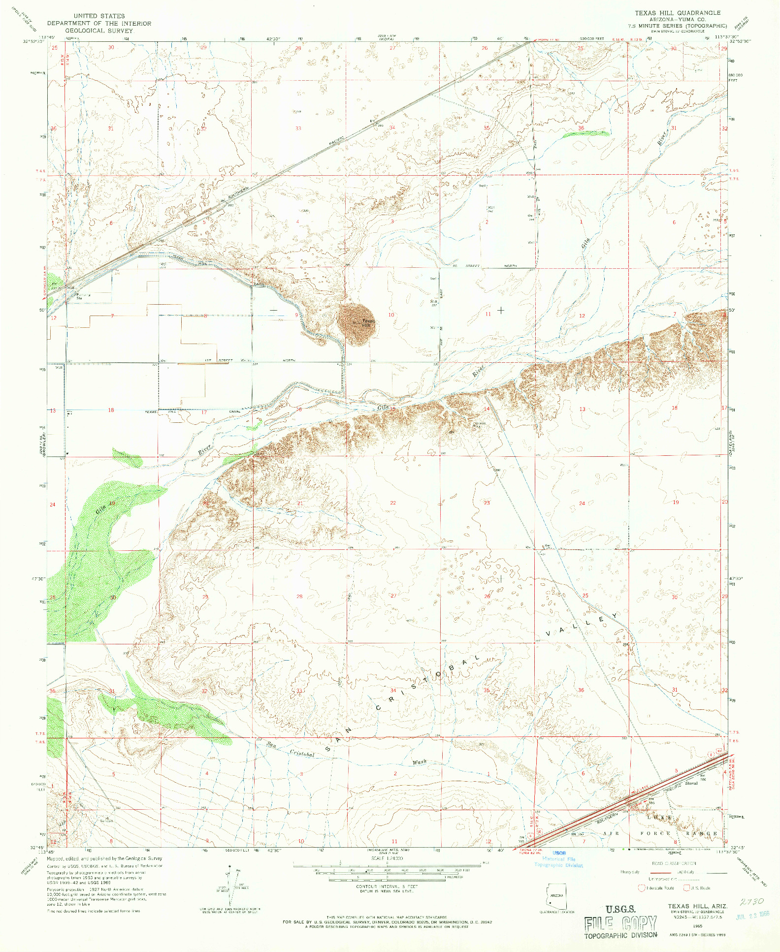 USGS 1:24000-SCALE QUADRANGLE FOR TEXAS HILL, AZ 1965