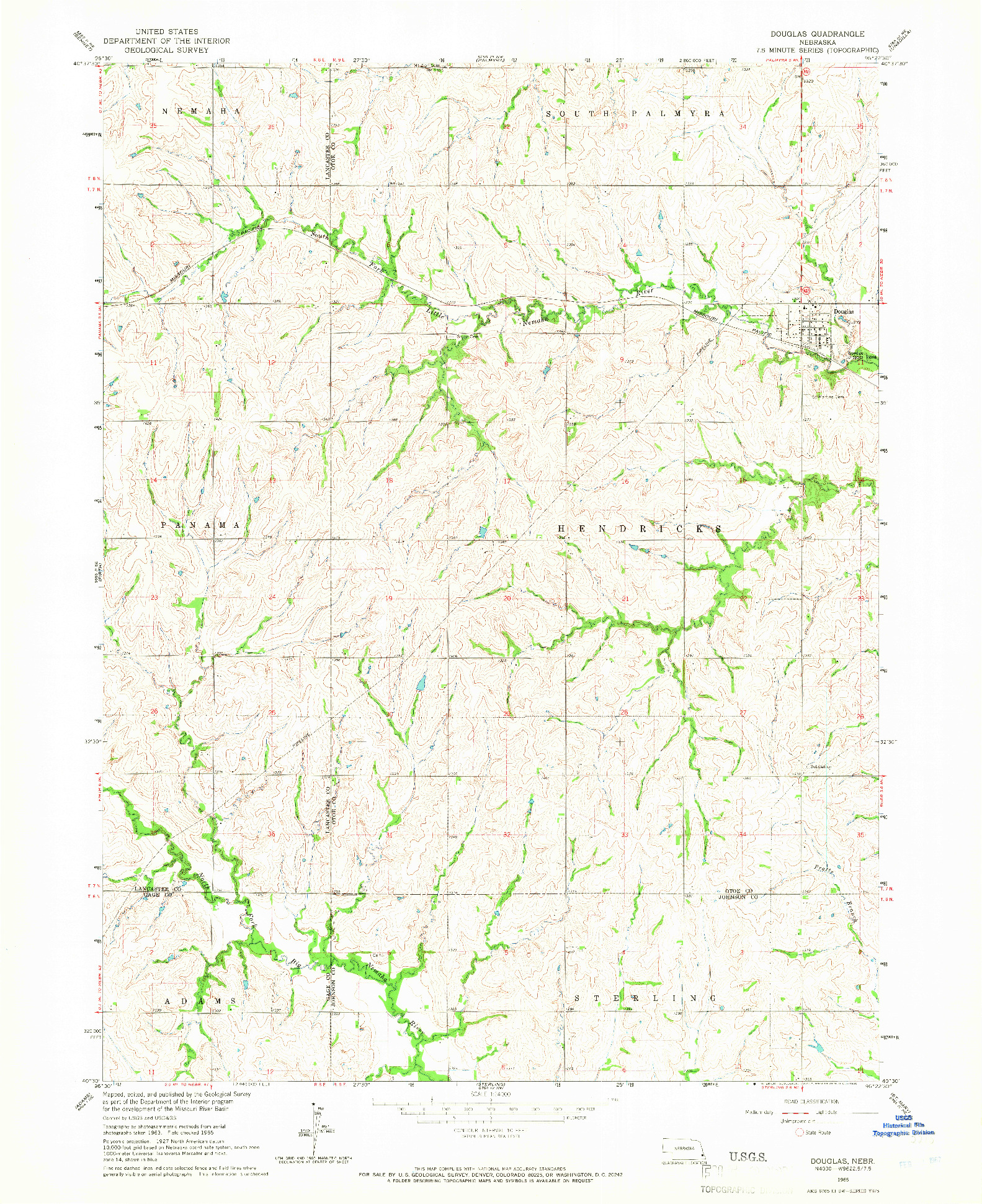 USGS 1:24000-SCALE QUADRANGLE FOR DOUGLAS, NE 1965
