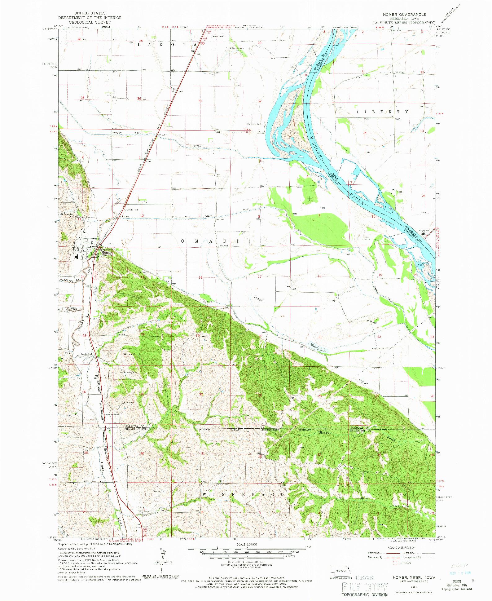 USGS 1:24000-SCALE QUADRANGLE FOR HOMER, NE 1964