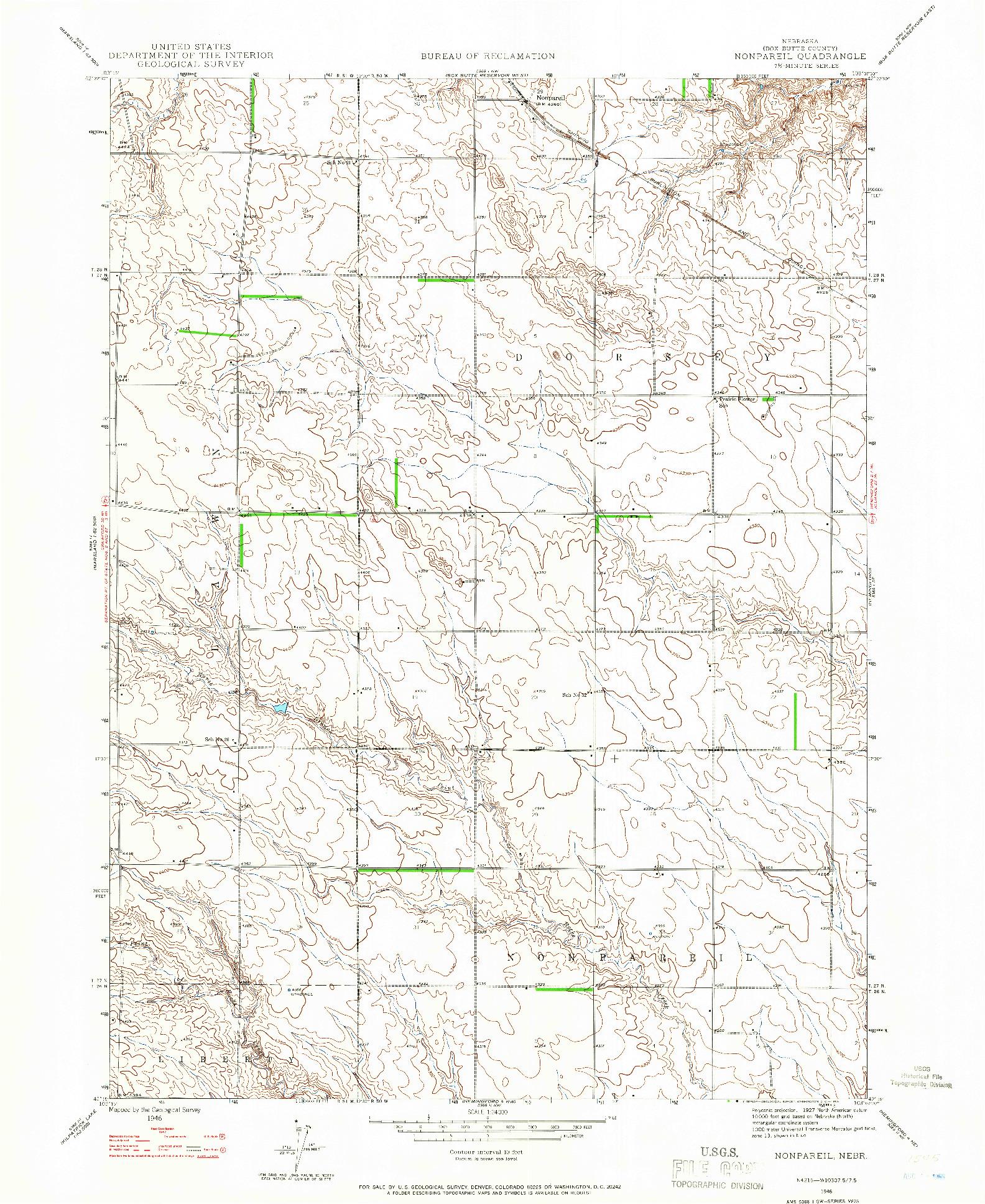 USGS 1:24000-SCALE QUADRANGLE FOR NONPAREIL, NE 1946