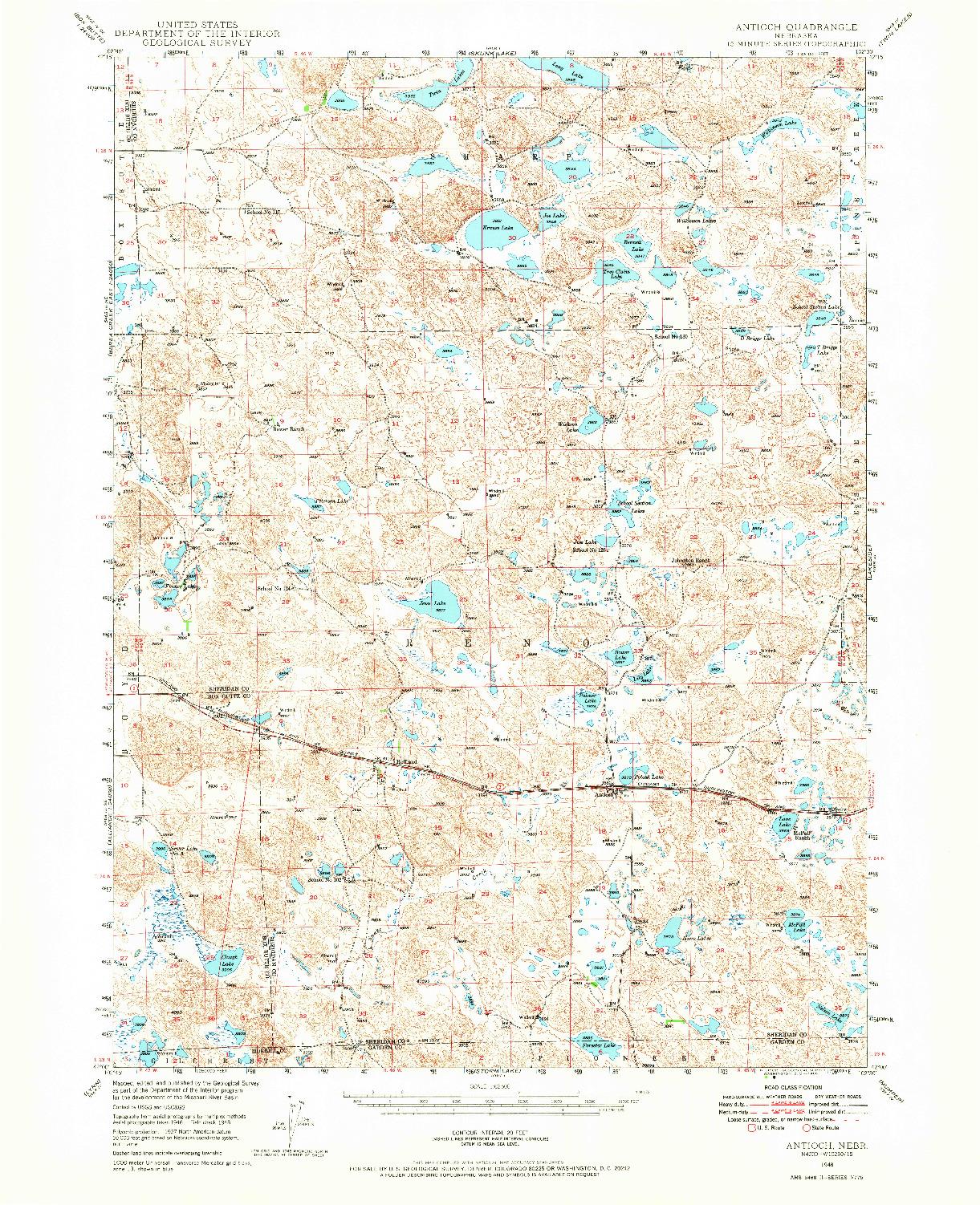 USGS 1:62500-SCALE QUADRANGLE FOR ANTIOCH, NE 1948