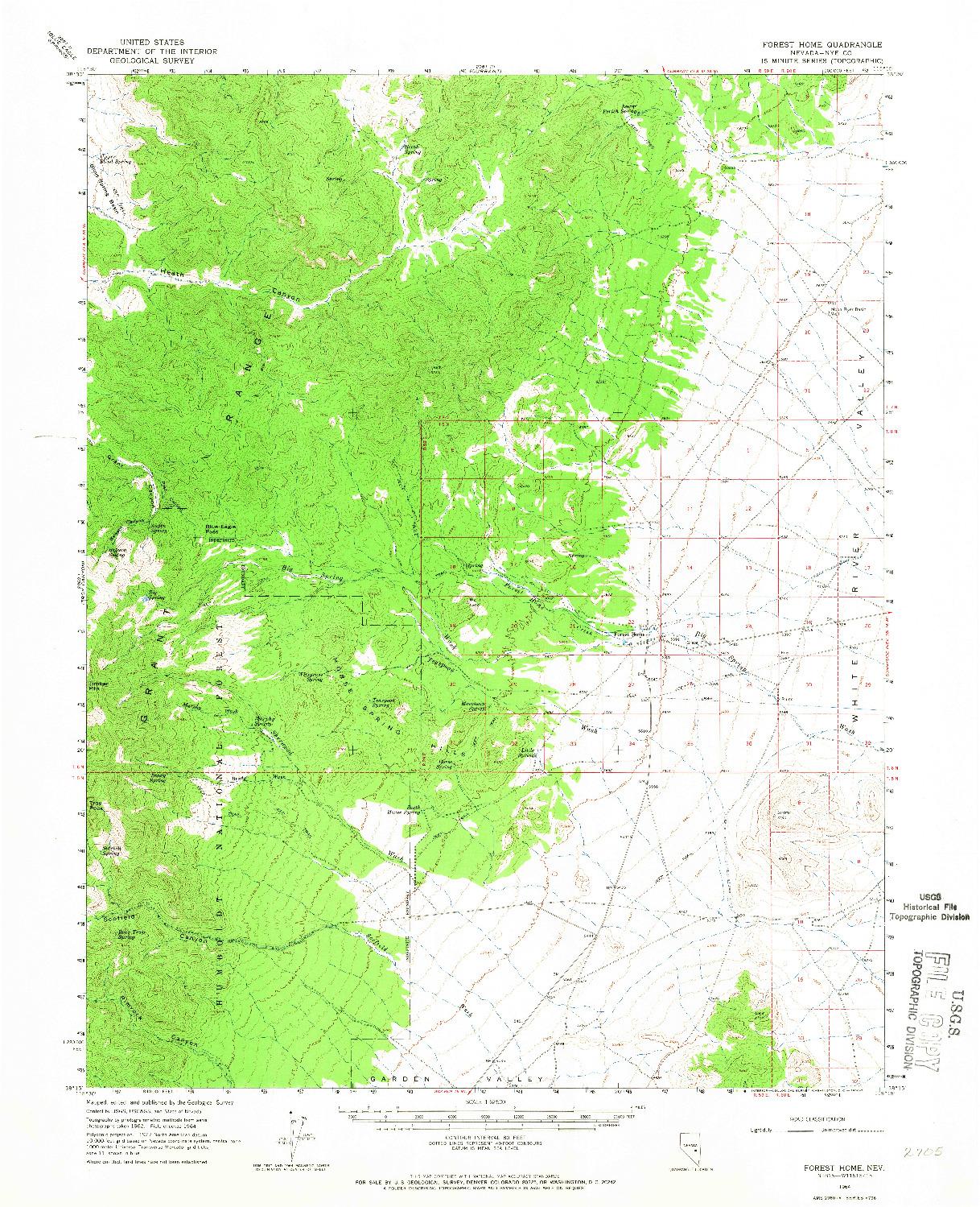 USGS 1:62500-SCALE QUADRANGLE FOR FOREST HOME, NV 1964
