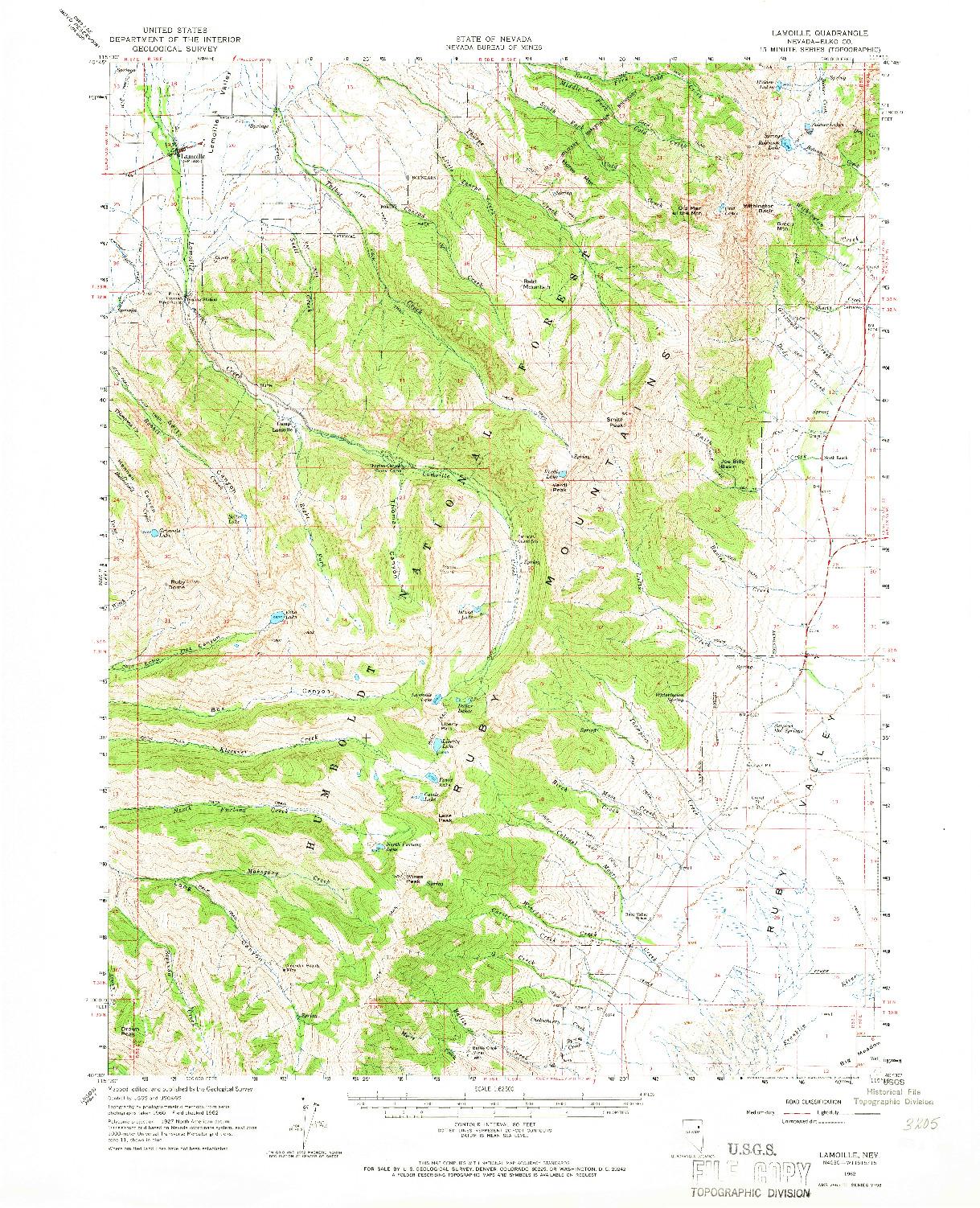 USGS 1:62500-SCALE QUADRANGLE FOR LAMOILLE, NV 1962