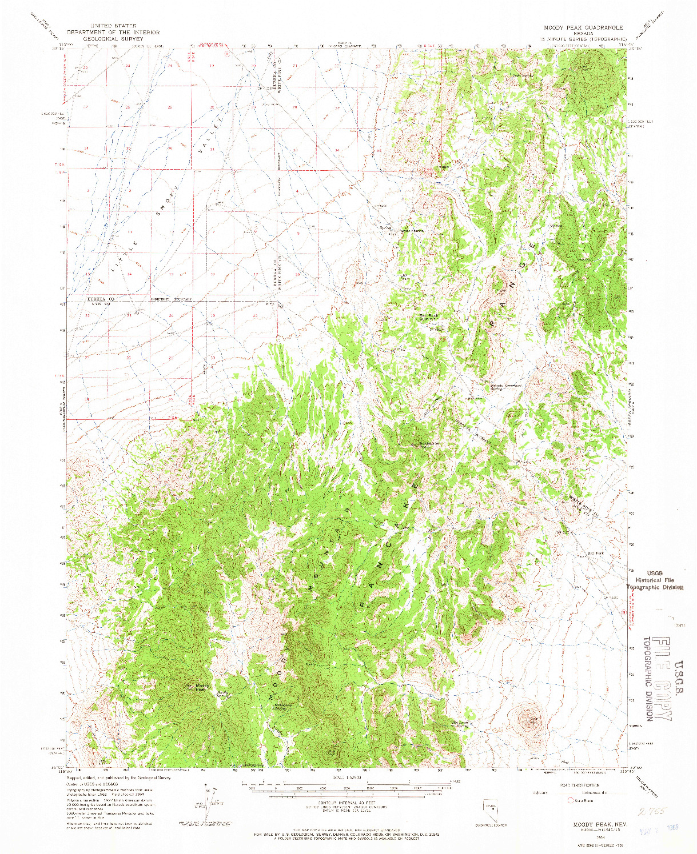 USGS 1:62500-SCALE QUADRANGLE FOR MOODY PEAK, NV 1964