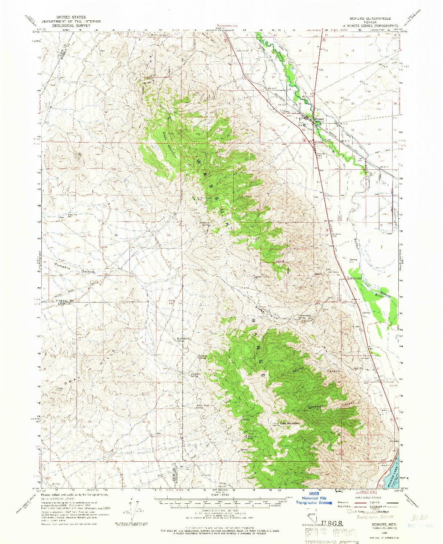 USGS 1:62500-SCALE QUADRANGLE FOR SCHURZ, NV 1964