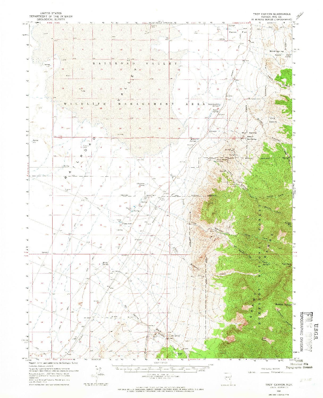 USGS 1:62500-SCALE QUADRANGLE FOR TROY CANYON, NV 1964