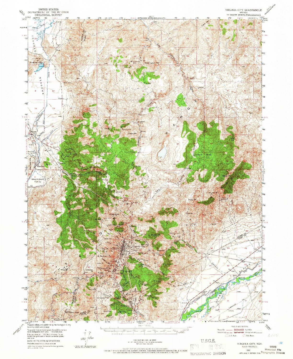 USGS 1:62500-SCALE QUADRANGLE FOR VIRGINIA CITY, NV 1950