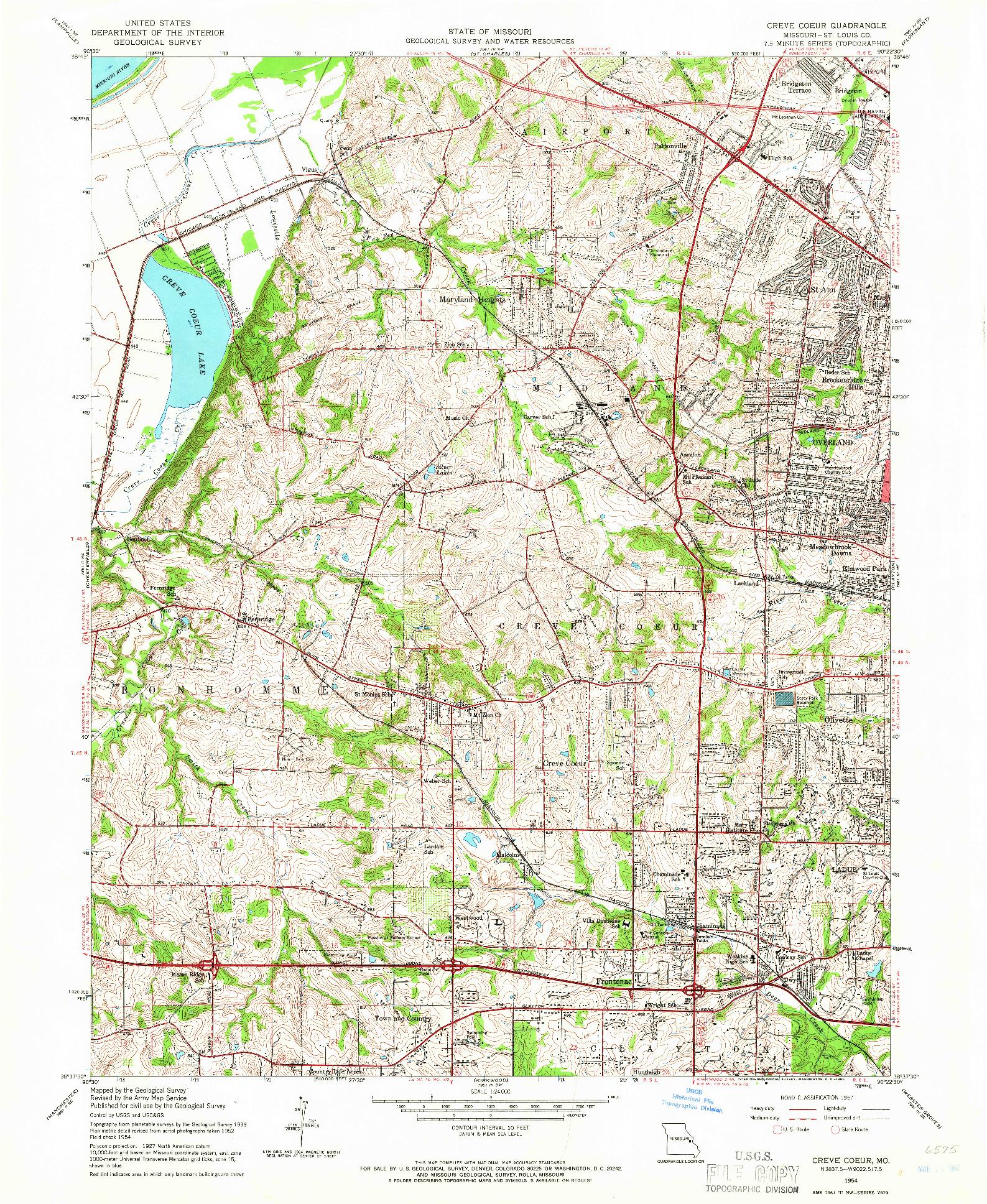 USGS 1:24000-SCALE QUADRANGLE FOR CREVE COEUR, MO 1954