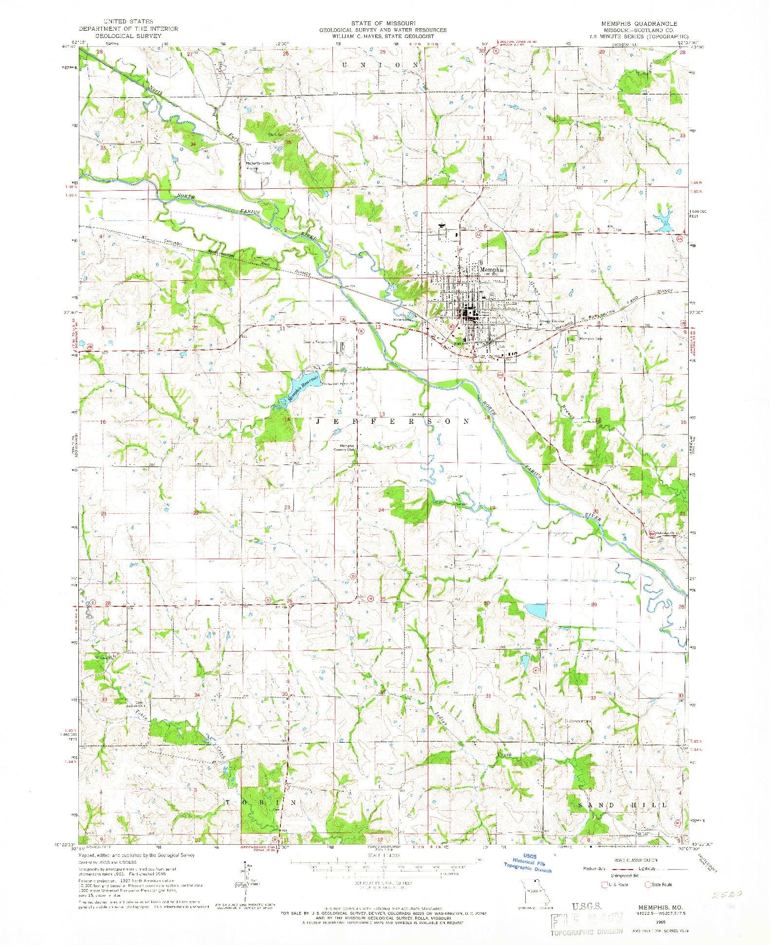 USGS 1:24000-SCALE QUADRANGLE FOR MEMPHIS, MO 1965