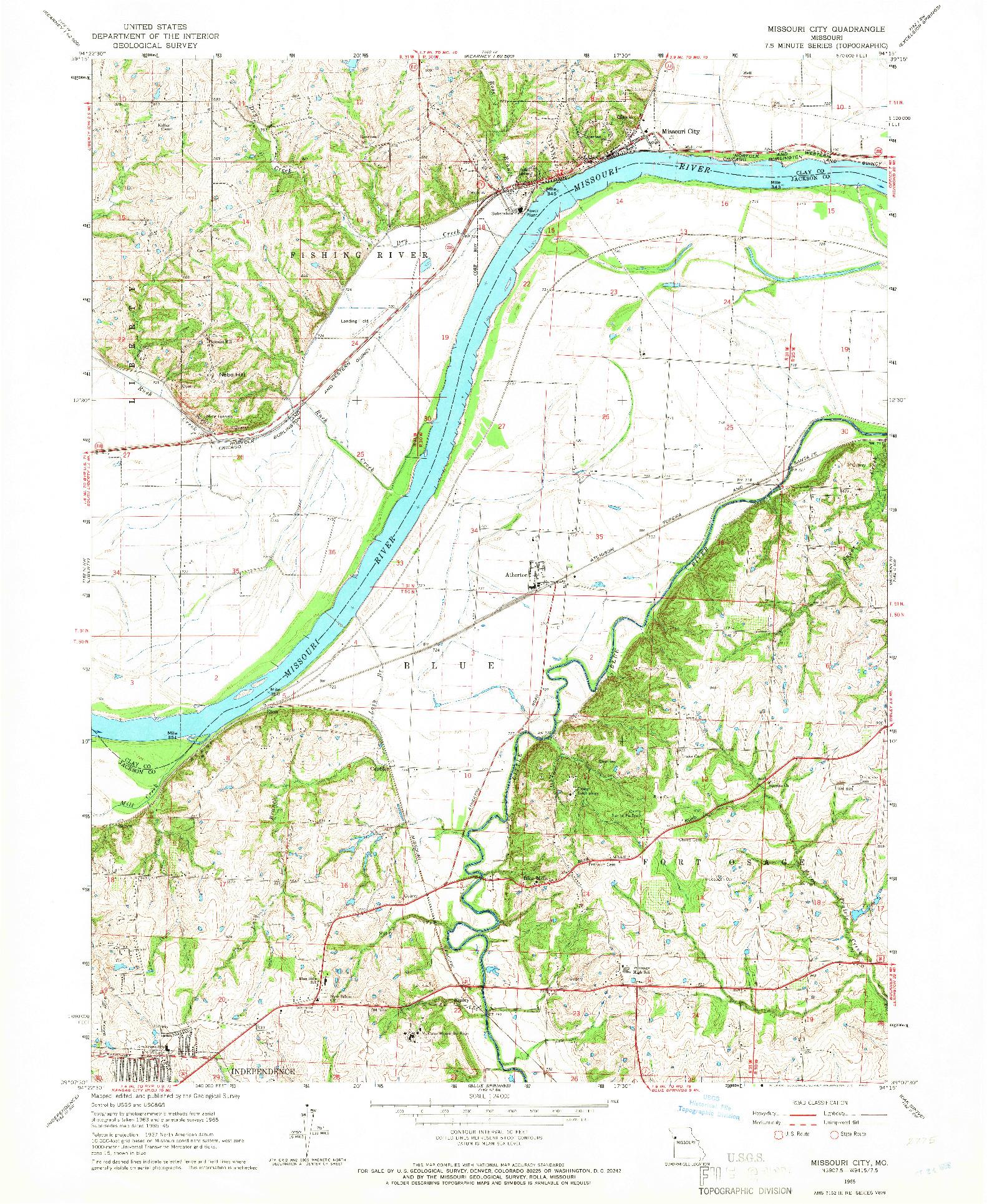 USGS 1:24000-SCALE QUADRANGLE FOR MISSOURI CITY, MO 1965