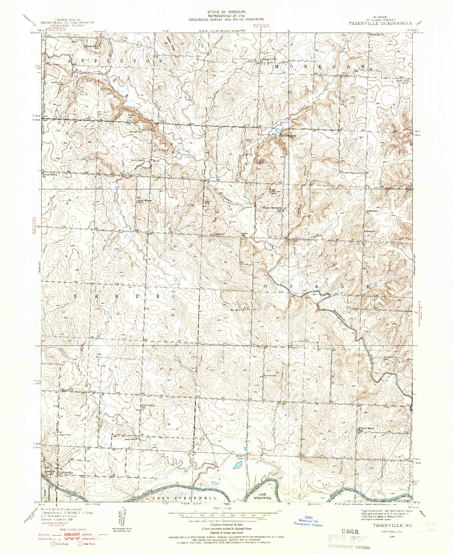 USGS 1:24000-SCALE QUADRANGLE FOR TABERVILLE, MO 1938