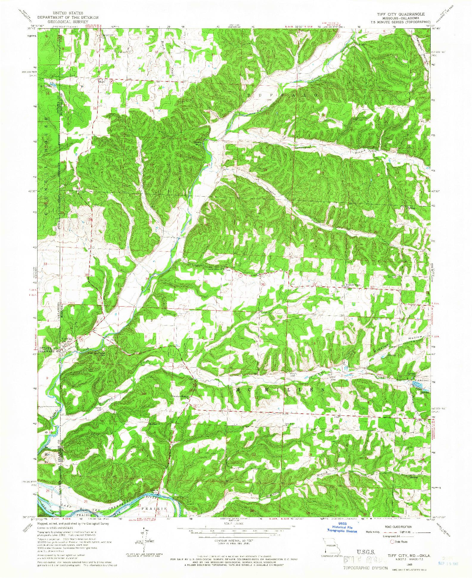 USGS 1:24000-SCALE QUADRANGLE FOR TIFF CITY, MO 1965